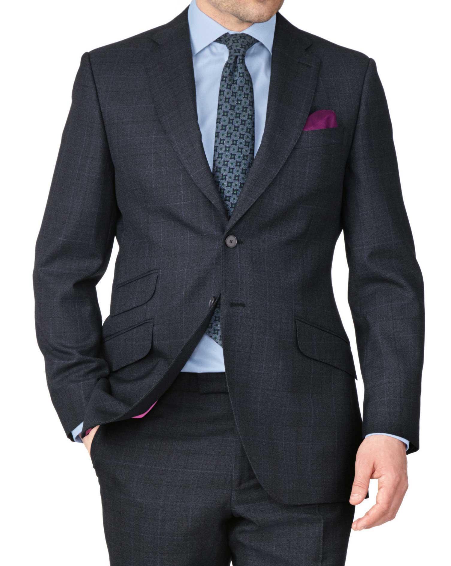 Blue Slim Fit Thornproof Luxury Suit Wool Jacket Size 38 Long by Charles Tyrwhitt