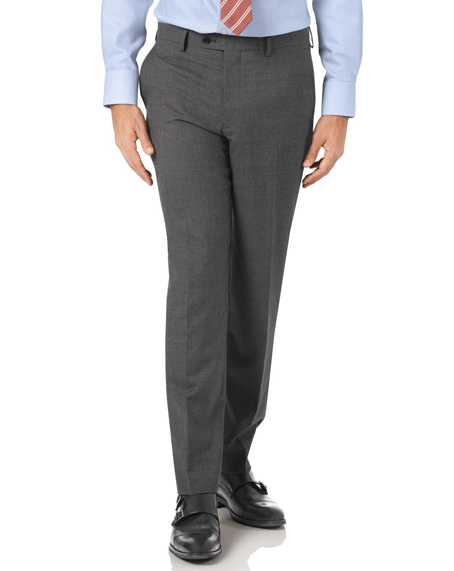 Charcoal Slim Fit Panama Puppytooth Business Suit Trouser Size W32 L38 by Charles Tyrwhitt
