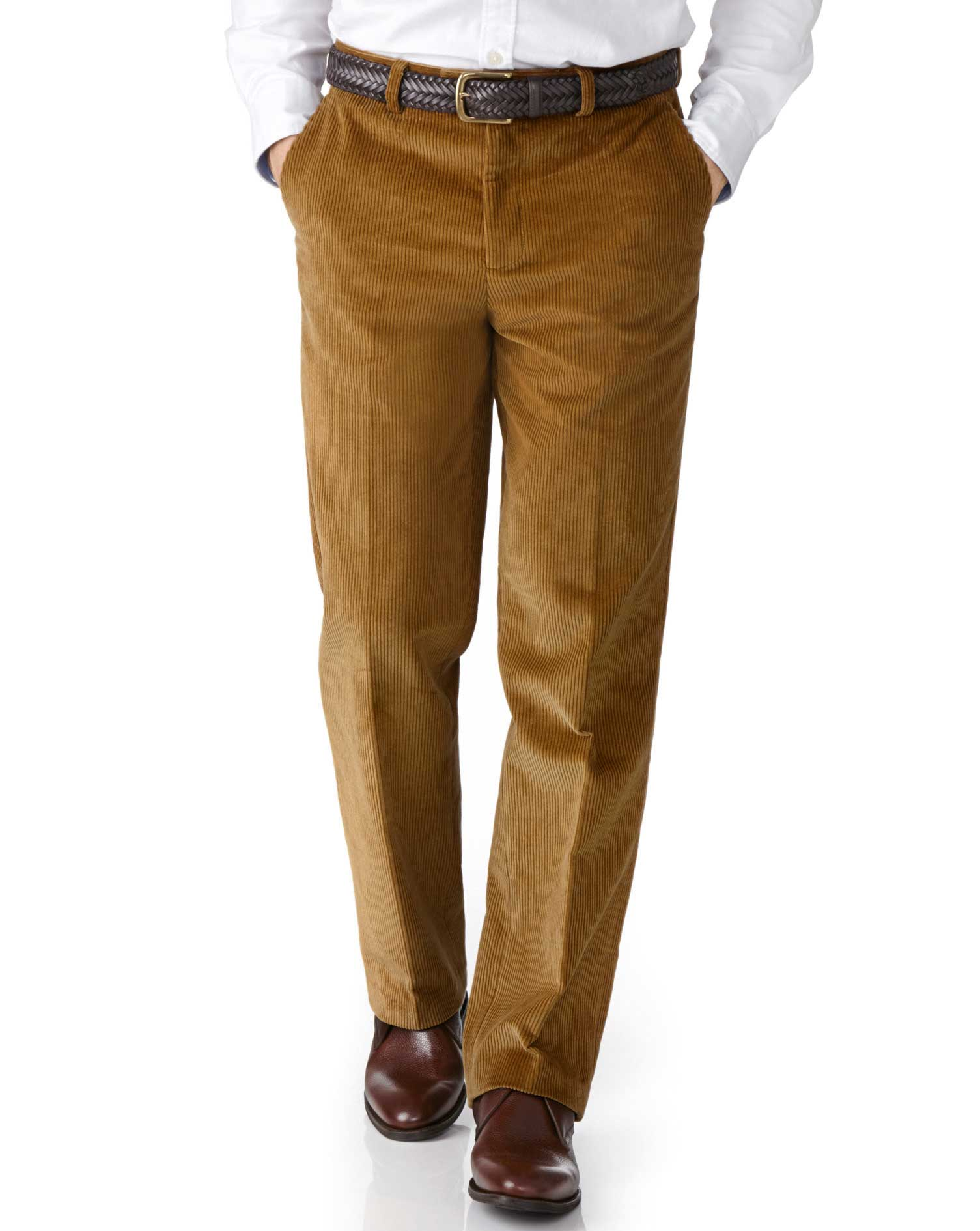 Yellow Classic Fit Jumbo Cord Trousers Size W36 L32 by Charles Tyrwhitt