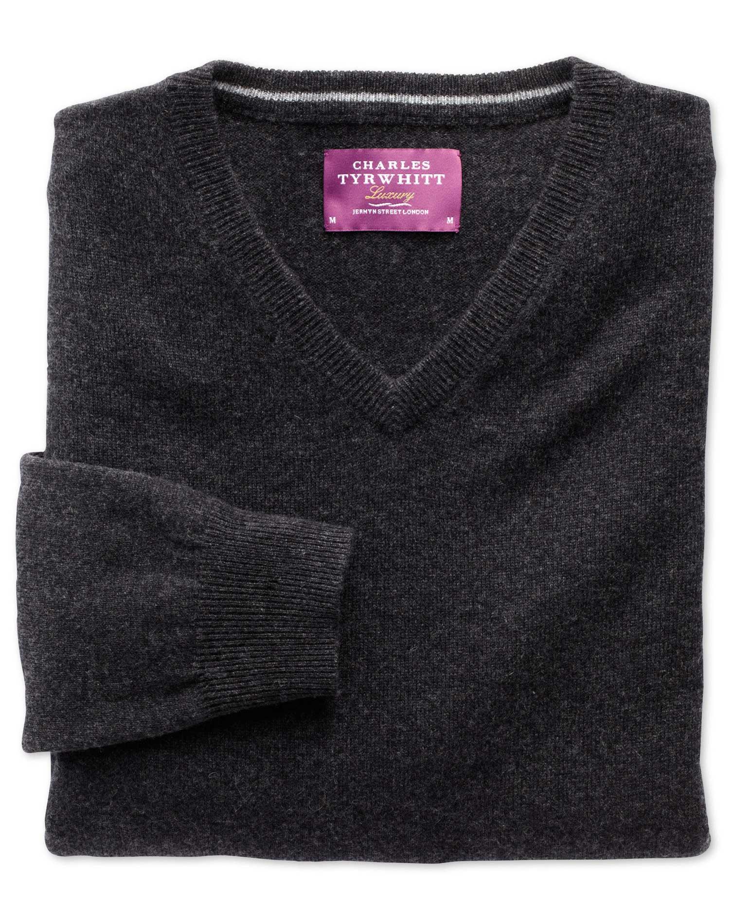 Charcoal Cashmere V-Neck Jumper Size Medium by Charles Tyrwhitt