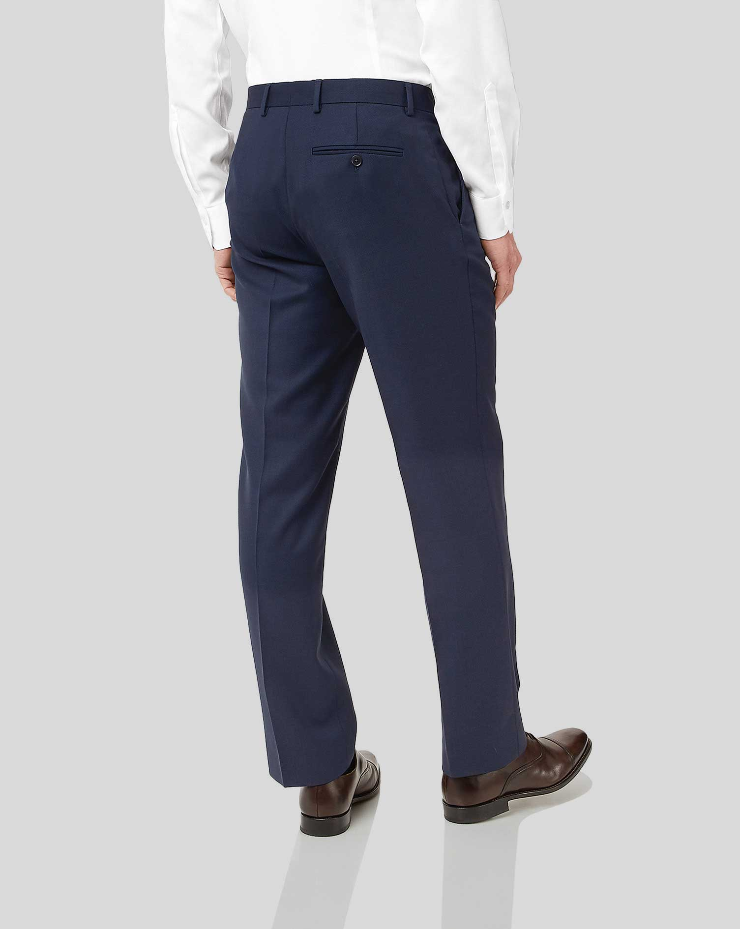 Navy classic fit birdseye travel suit pants