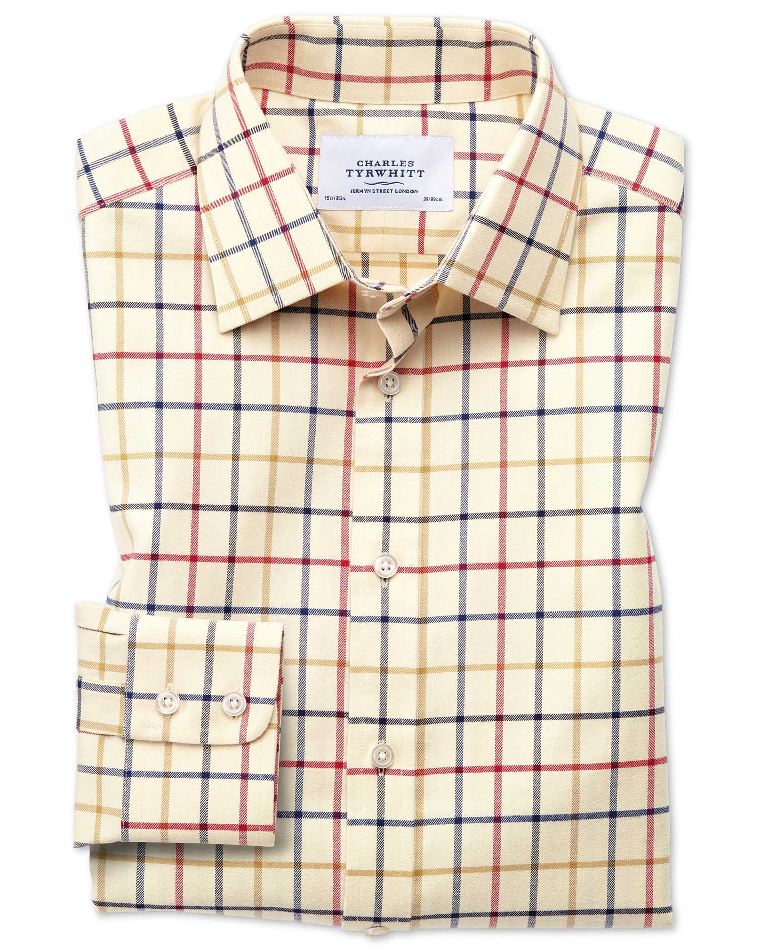 Slim Fit Country Check Red and Blue Cotton Formal Shirt Single Cuff Size 16/35 by Charles Tyrwhitt