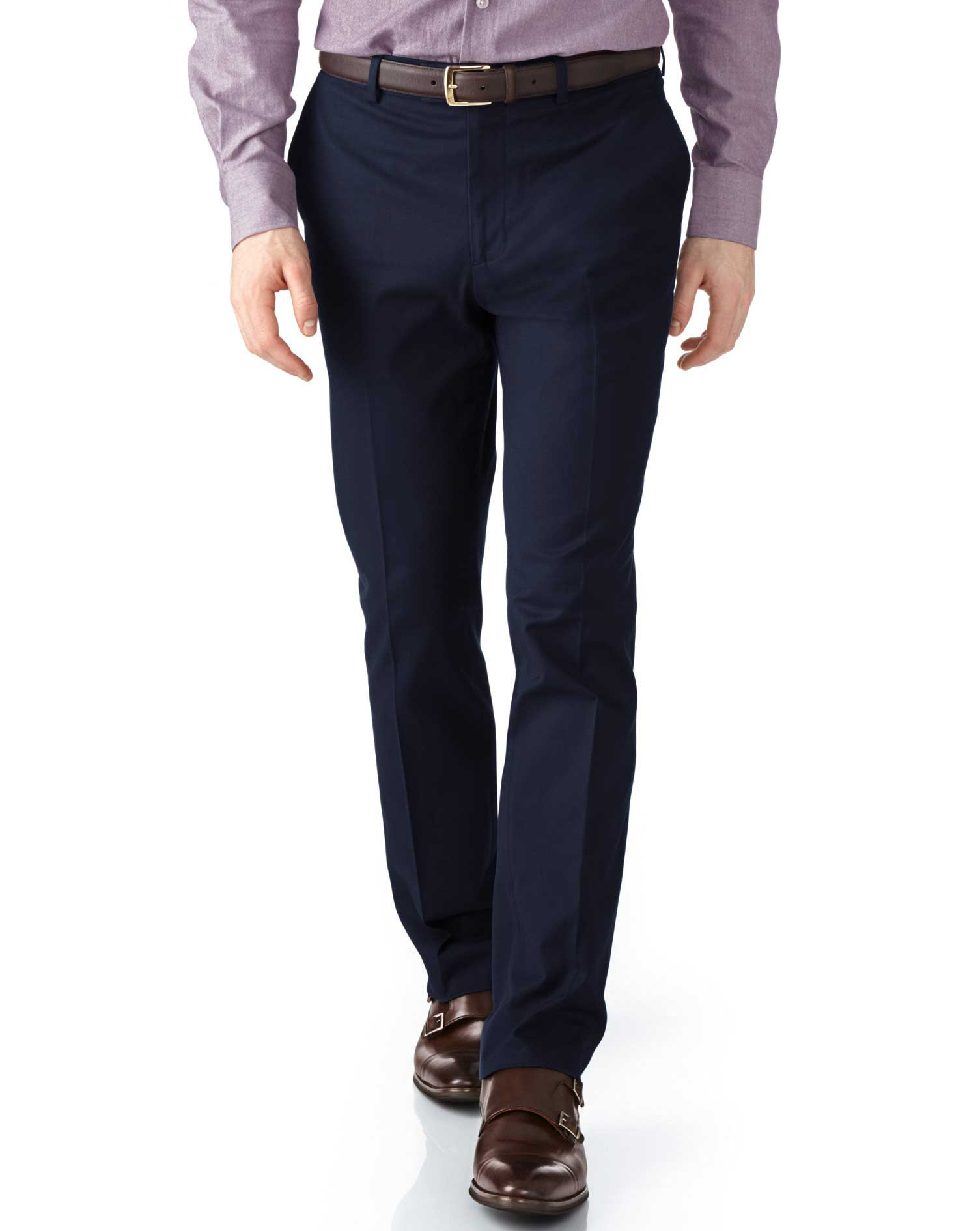Navy Extra Slim Fit Stretch Cavalry Twill Trousers Size W36 L32 by Charles Tyrwhitt