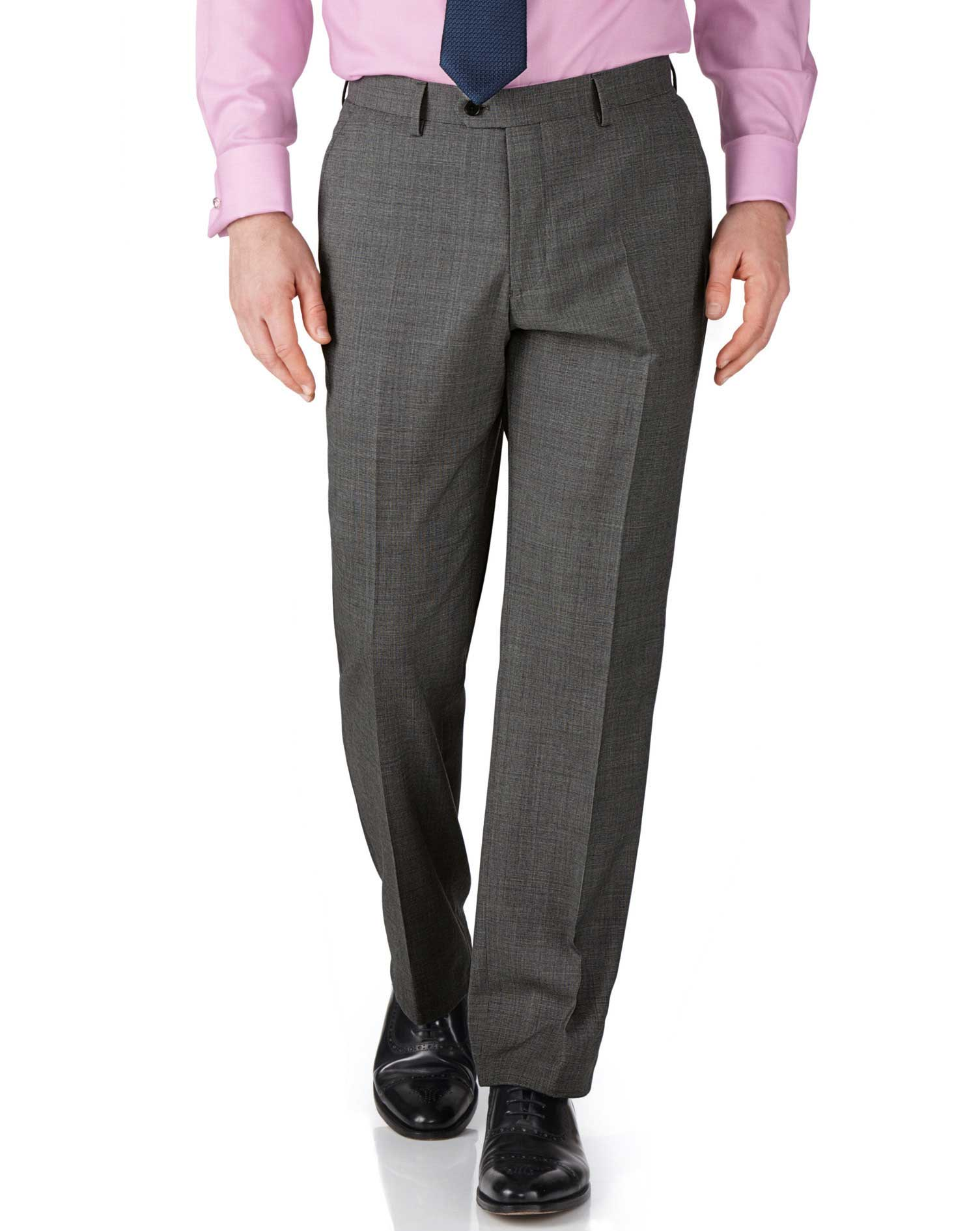 Grey Slim Fit End-On-End Business Suit Trousers Size W42 L38 by Charles Tyrwhitt