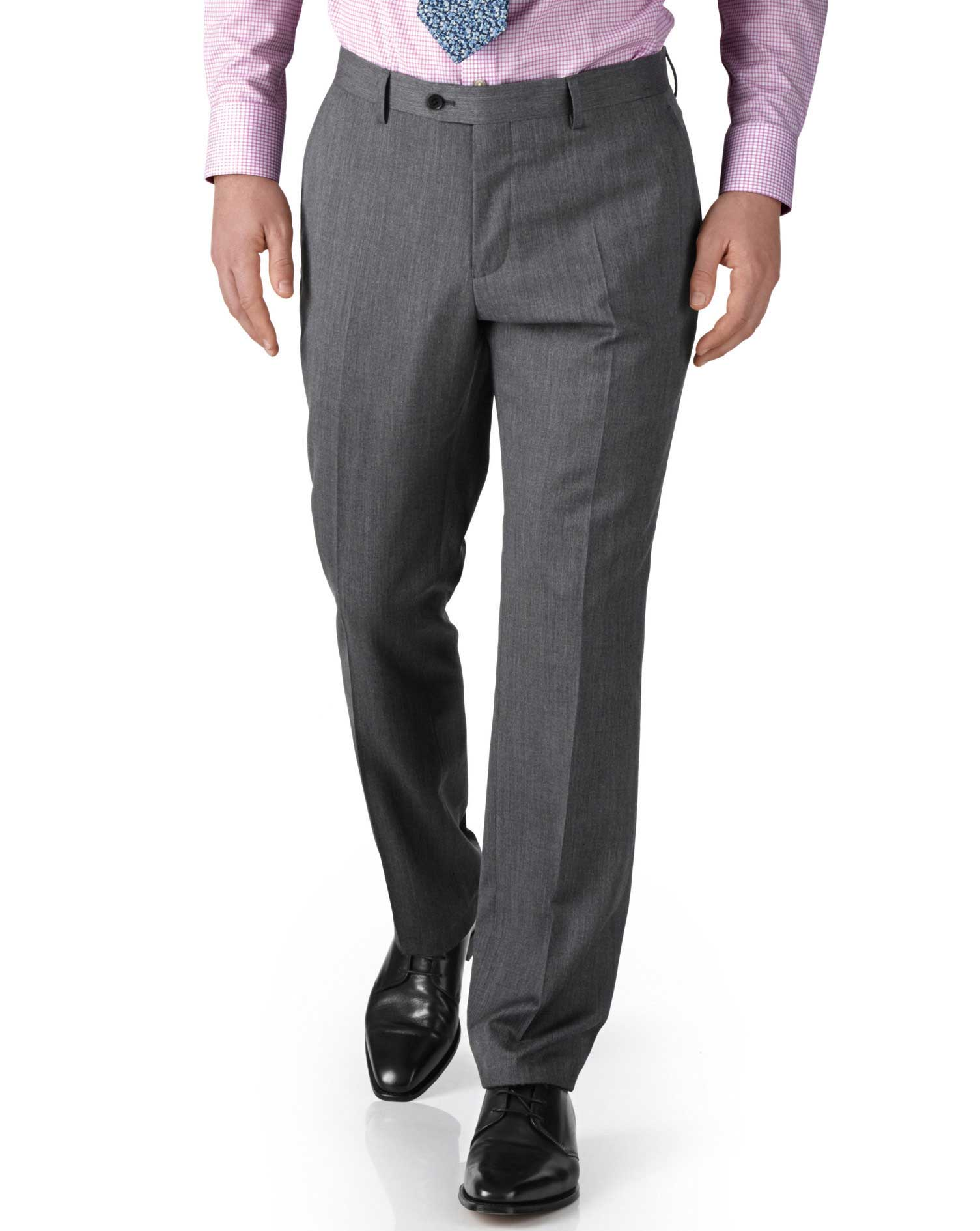Silver Slim Fit Twill Business Suit Trousers Size W42 L38 by Charles Tyrwhitt