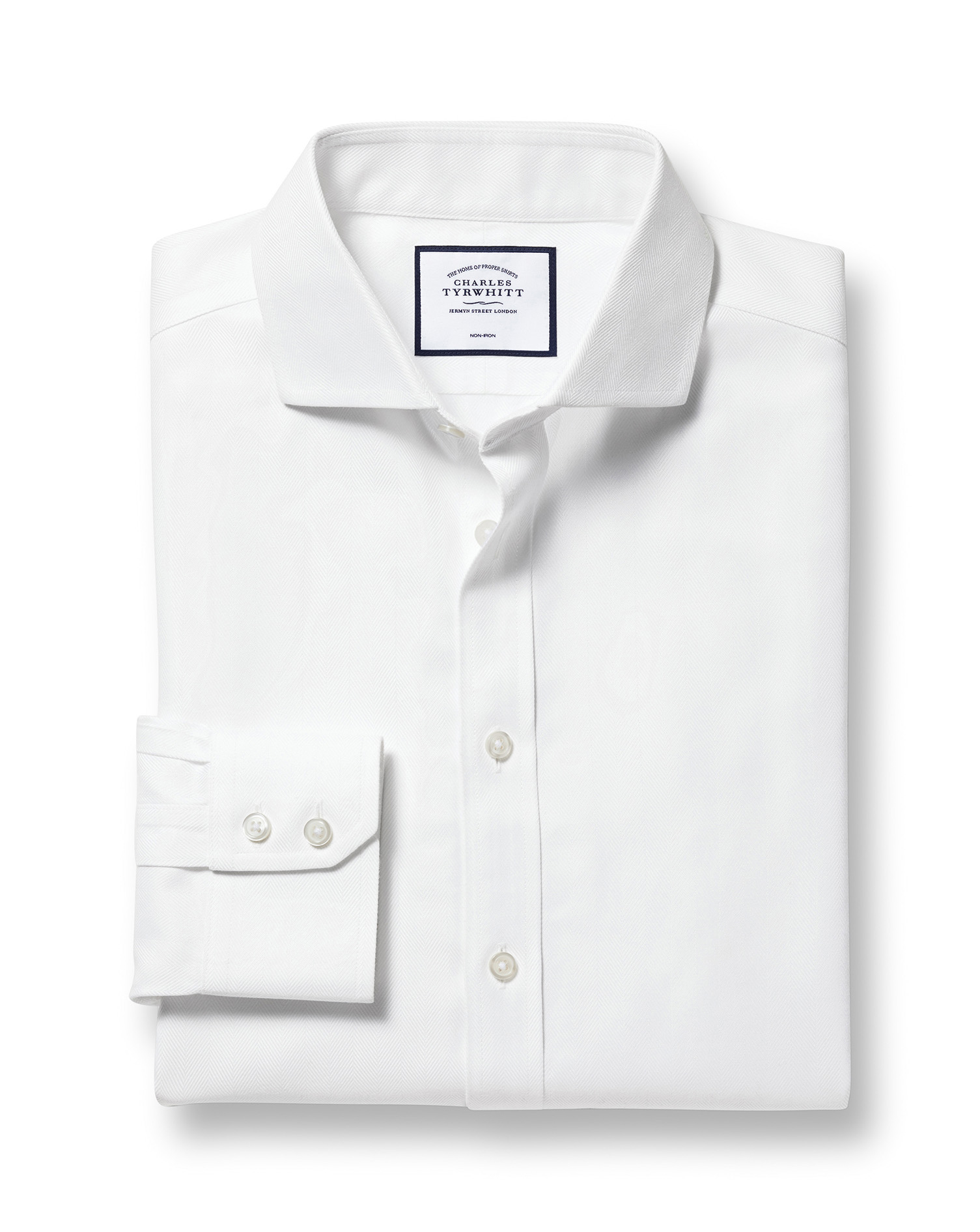 Slim Fit Cutaway Non-Iron Herringbone White Cotton Formal Shirt Single Cuff Size 17.5/35 by Charles