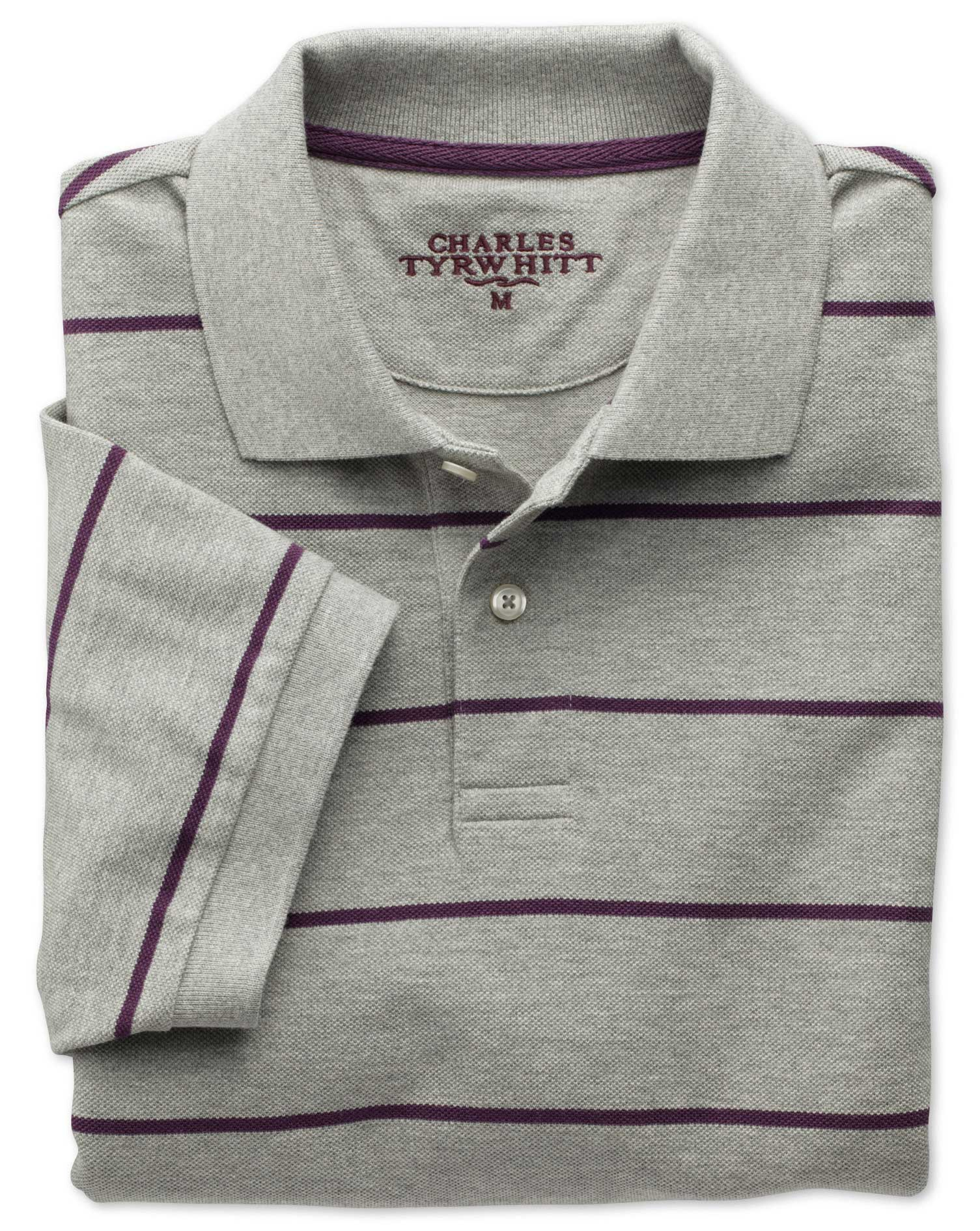 Grey and Purple Stripe Pique Cotton Polo Size XS by Charles Tyrwhitt