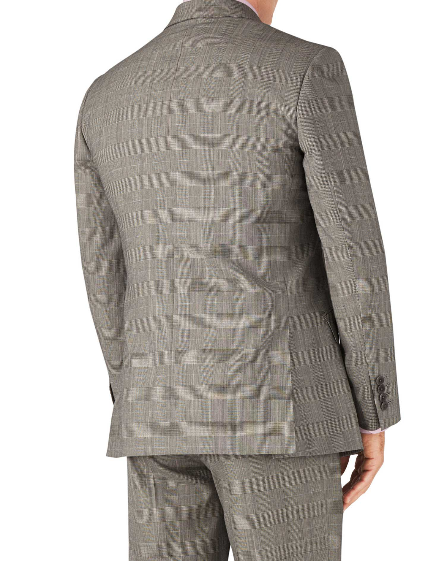 Grey Prince of Wales check classic fit Panama business suit jacket