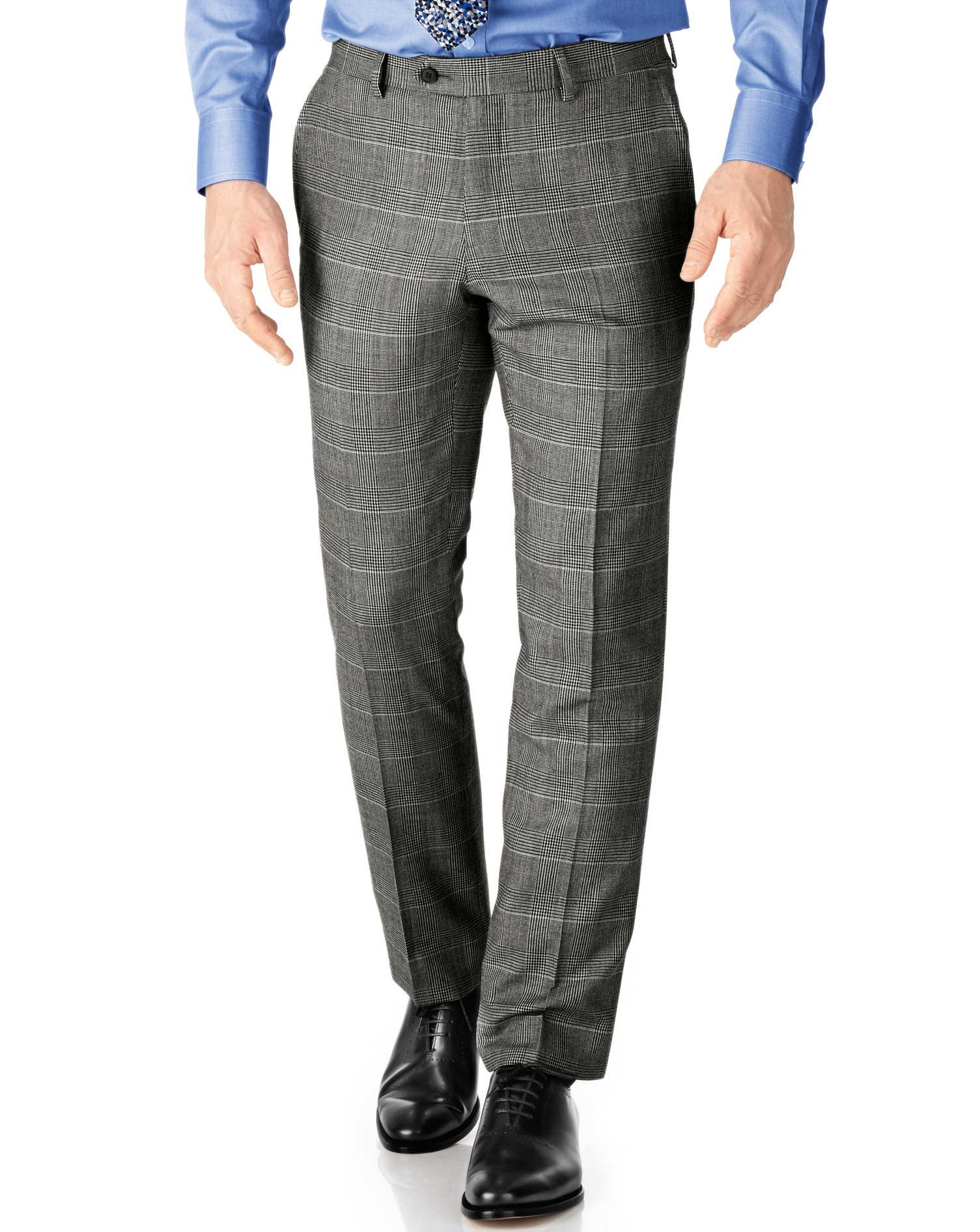 Grey Check Classic Fit Twill Business Suit Trouser Size W34 L38 by Charles Tyrwhitt