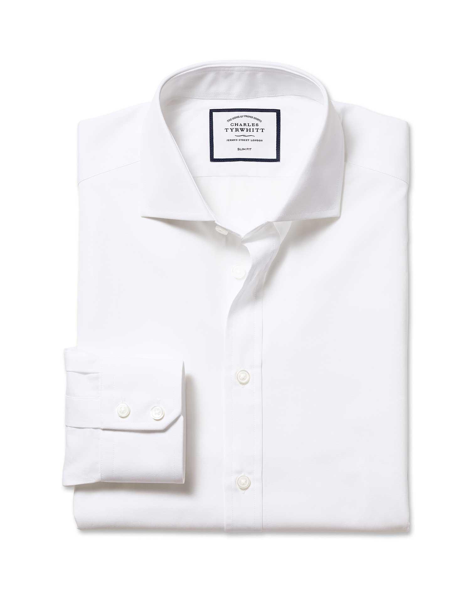 Slim Fit Cutaway Egyptian Cotton Poplin White Formal Shirt Single Cuff Size 16/35 by Charles Tyrwhit