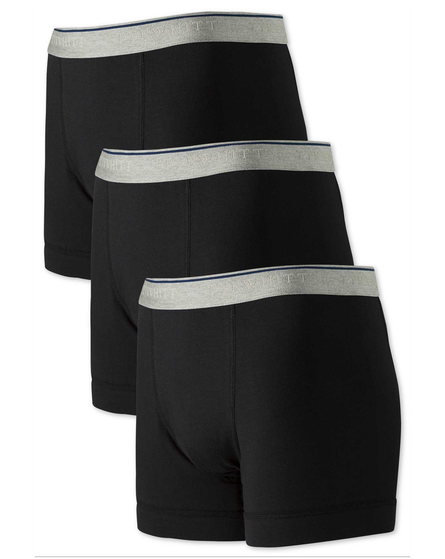 Black Jersey 3 Pack Trunks Size XS by Charles Tyrwhitt