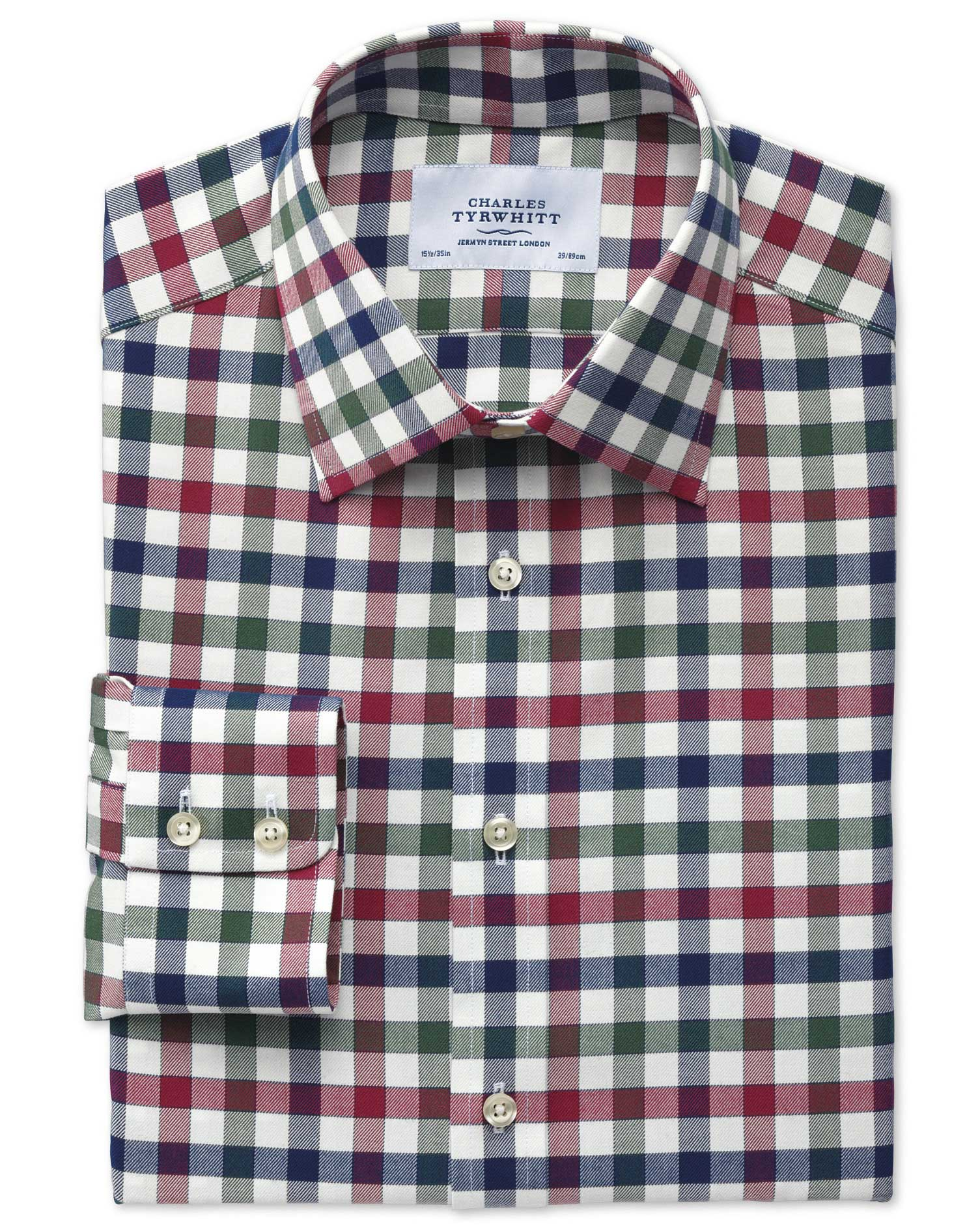 Extra Slim Fit Country Check Navy and Berry Cotton Formal Shirt Single Cuff Size 16/35 by Charles Ty
