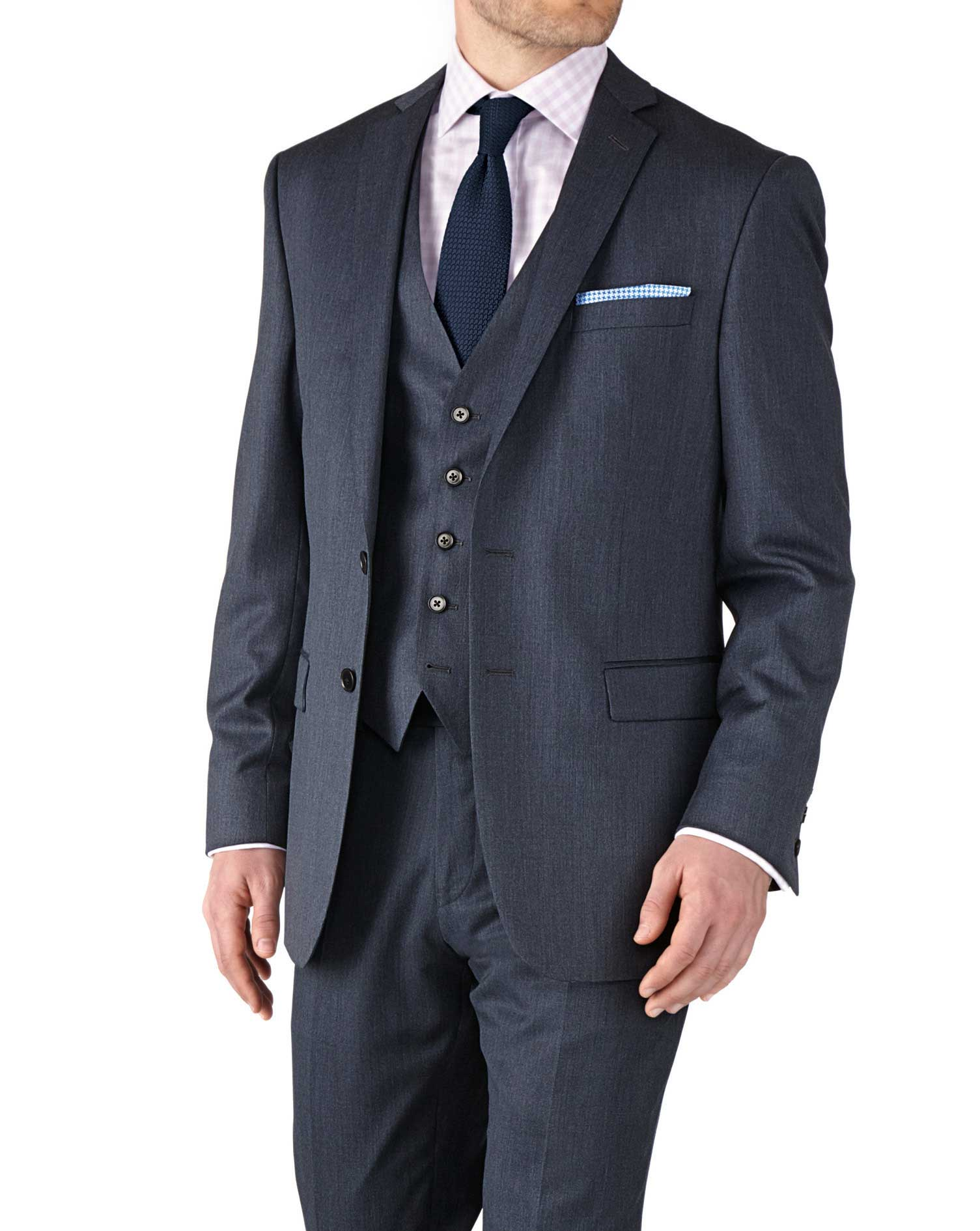 Airforce Blue Classic Fit Twill Business Suit Wool Jacket Size 38 Regular by Charles Tyrwhitt