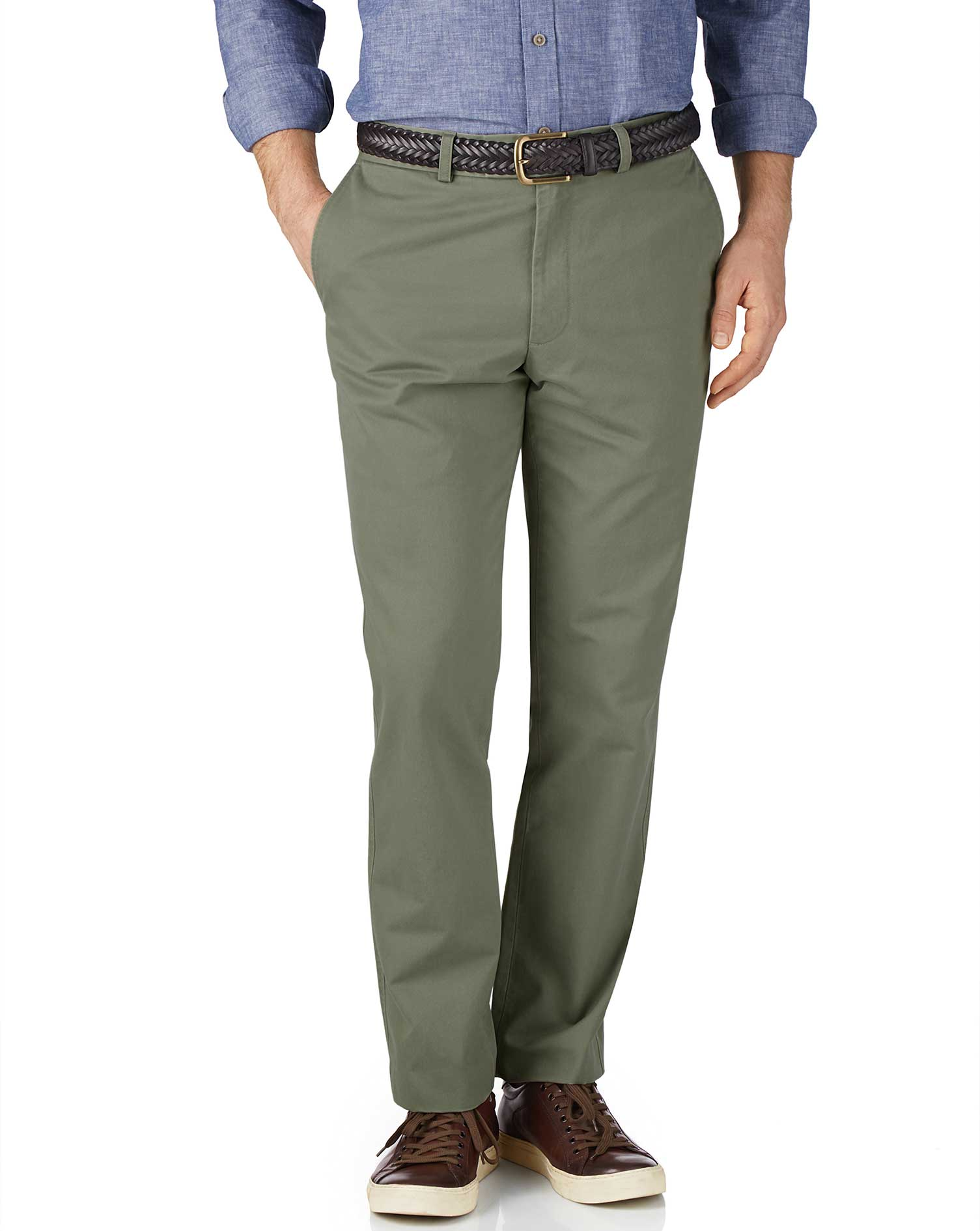 Light Green Slim Fit Flat Front Cotton Chino Trousers Size W32 L38 by Charles Tyrwhitt