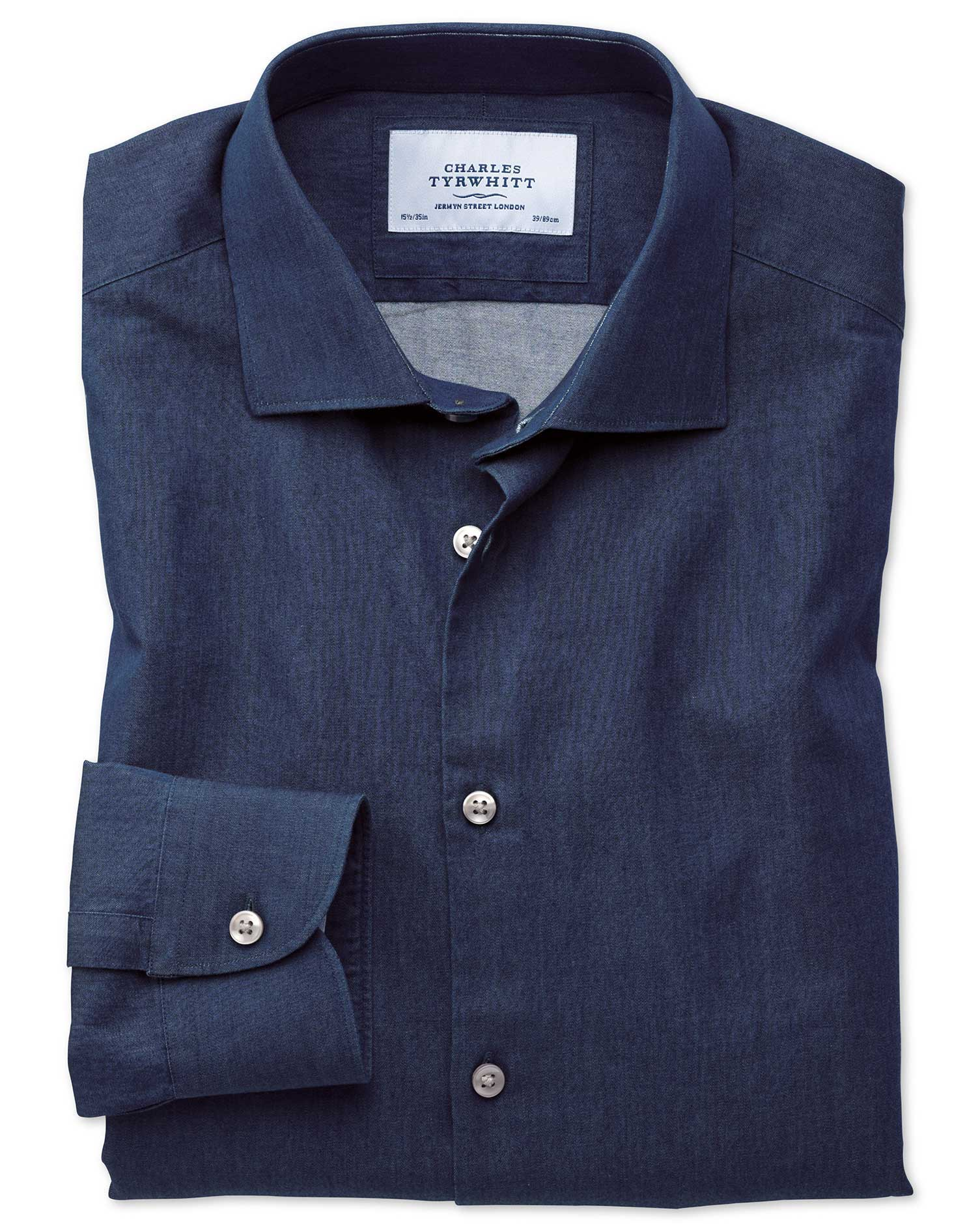 Extra slim fit semi spread collar business casual indigo for Semi spread collar shirt