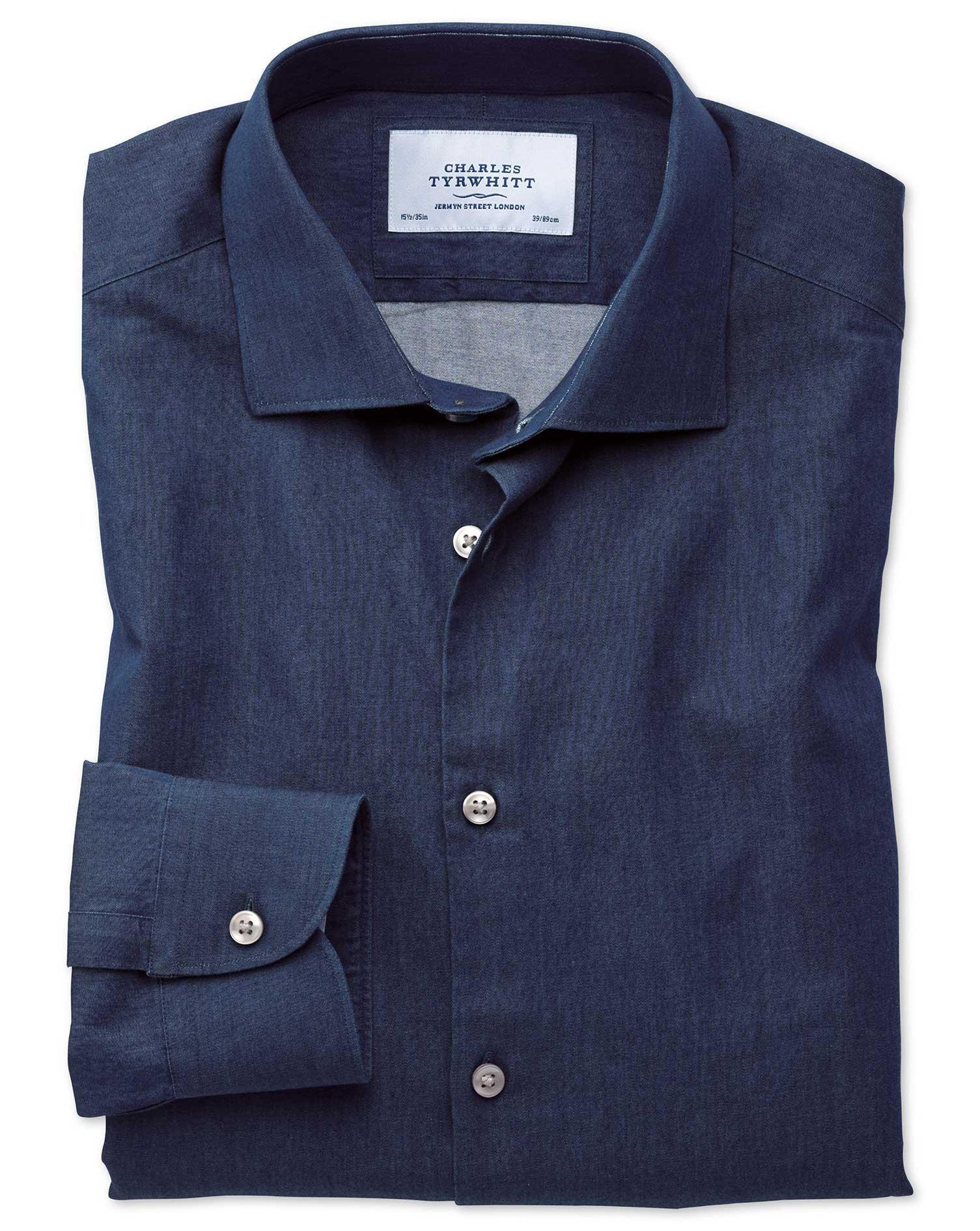 Extra Slim Fit Semi-Cutaway Business Casual Indigo Dark Blue Cotton Formal Shirt Single Cuff Size 14