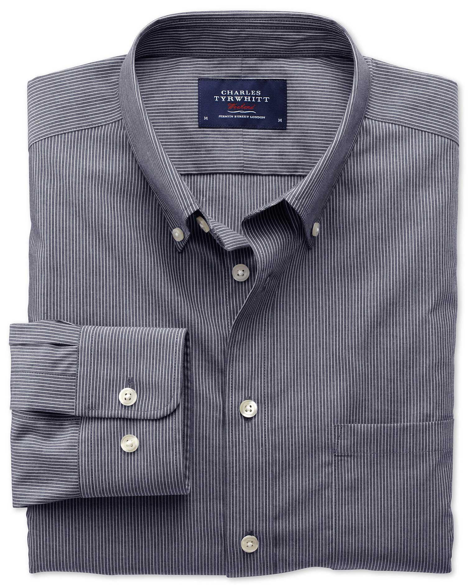 Extra Slim Fit Non-Iron Poplin Indigo Stripe Cotton Shirt Single Cuff Size XXL by Charles Tyrwhitt