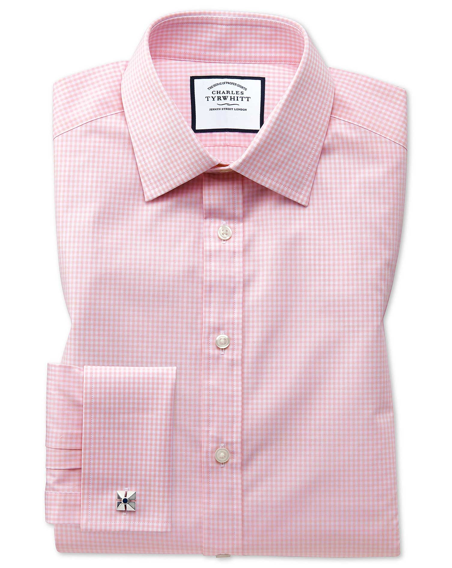 Extra Slim Fit Small Gingham Light Pink Cotton Formal Shirt Double Cuff Size 15/35 by Charles Tyrwhi