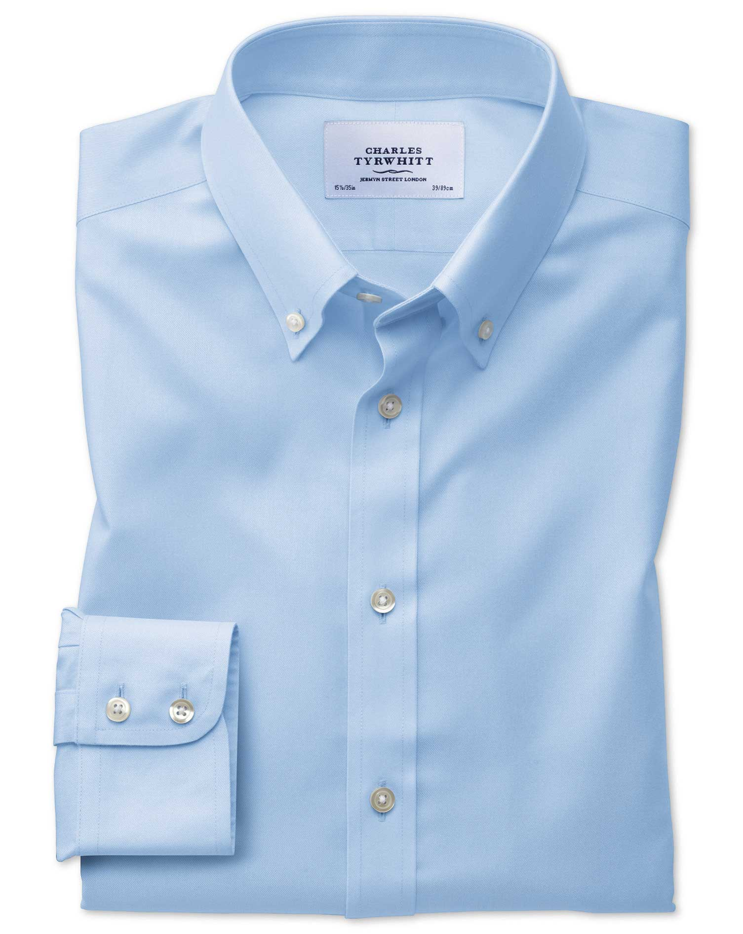 Extra Slim Fit Button-Down Non-Iron Twill Sky Blue Cotton Formal Shirt Single Cuff Size 17.5/34 by C