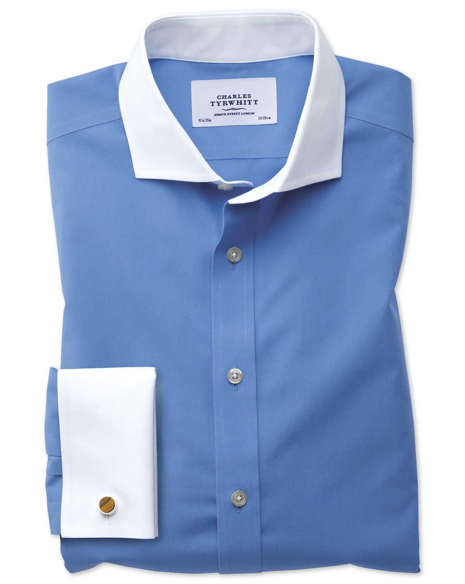 Slim Fit Cutaway Non-Iron Winchester Blue Cotton Formal Shirt Double Cuff Size 17.5/34 by Charles Ty