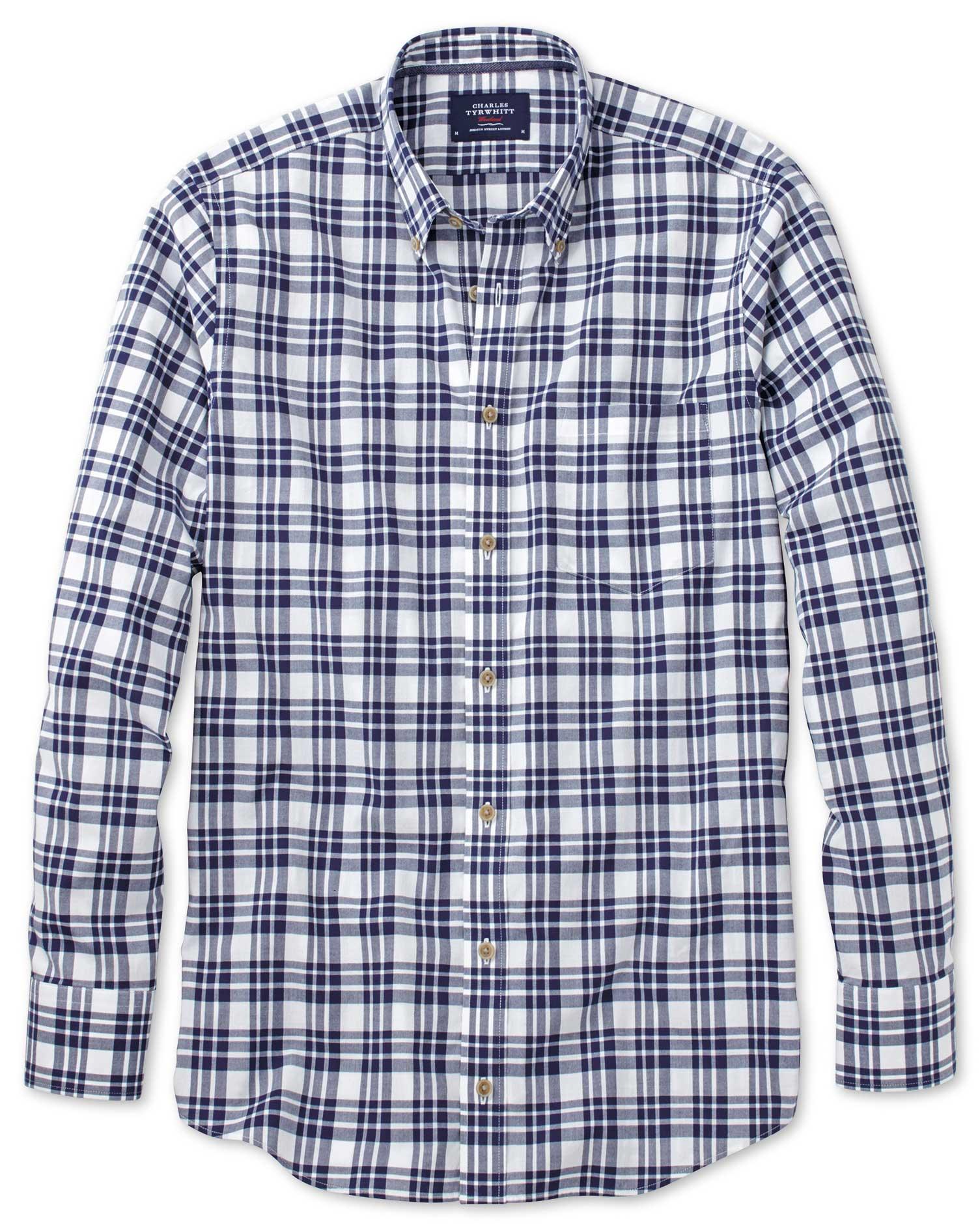 Slim Fit Button-Down Poplin Navy Blue Check Cotton Shirt Single Cuff Size Medium by Charles Tyrwhitt