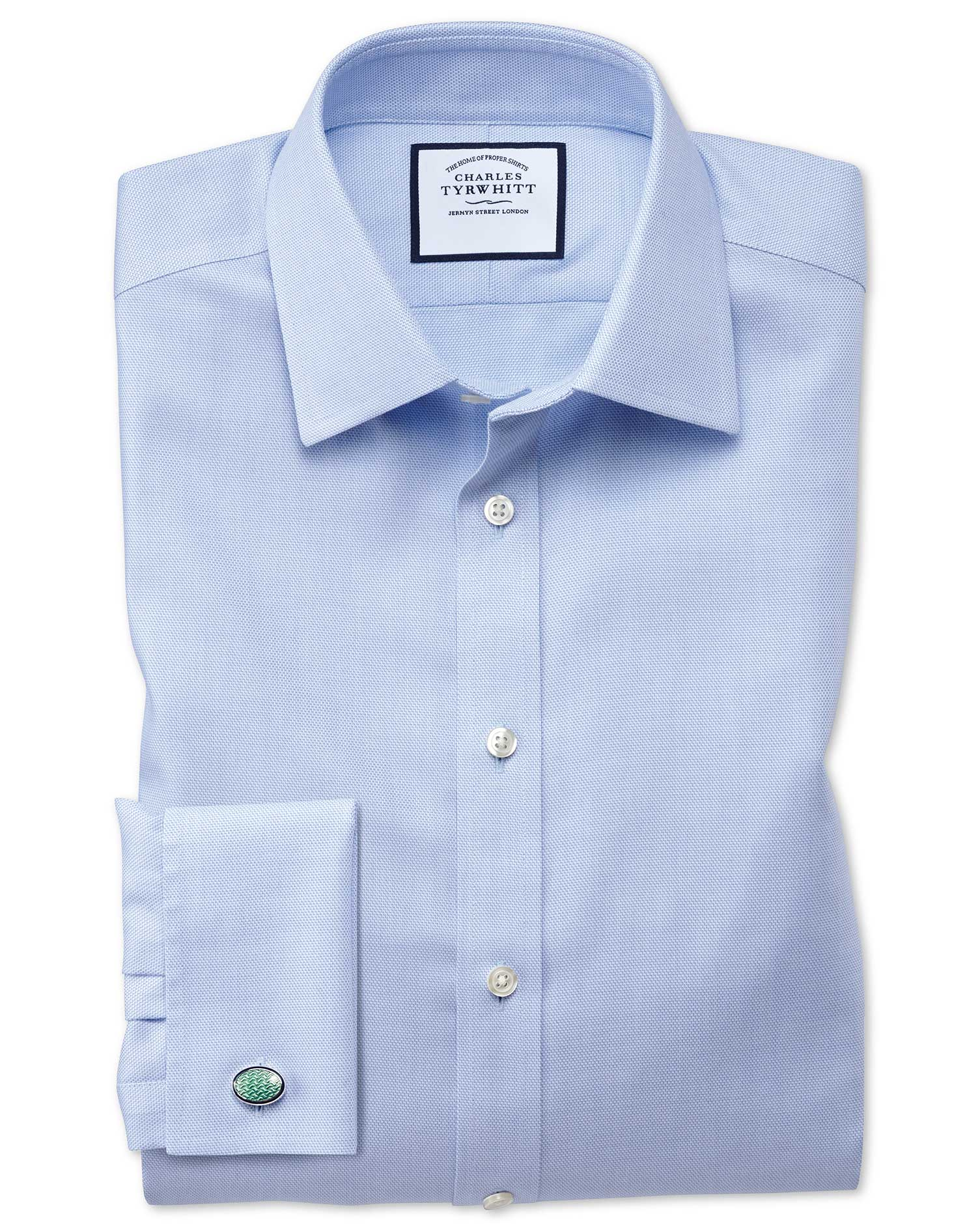 Classic Fit Non-Iron Step Weave Sky Blue Cotton Formal Shirt Single Cuff Size 17.5/38 by Charles Tyr