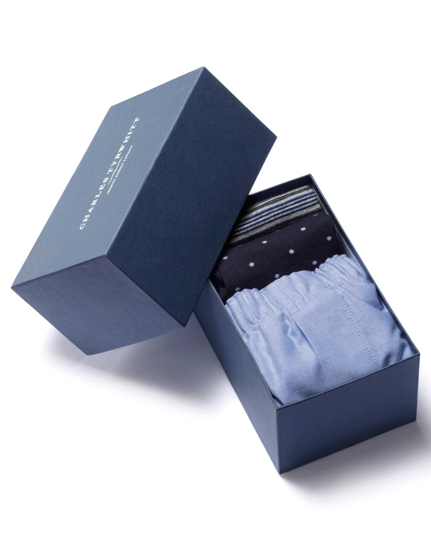 Navy Boxer and Sock Gift Box Size Medium by Charles Tyrwhitt