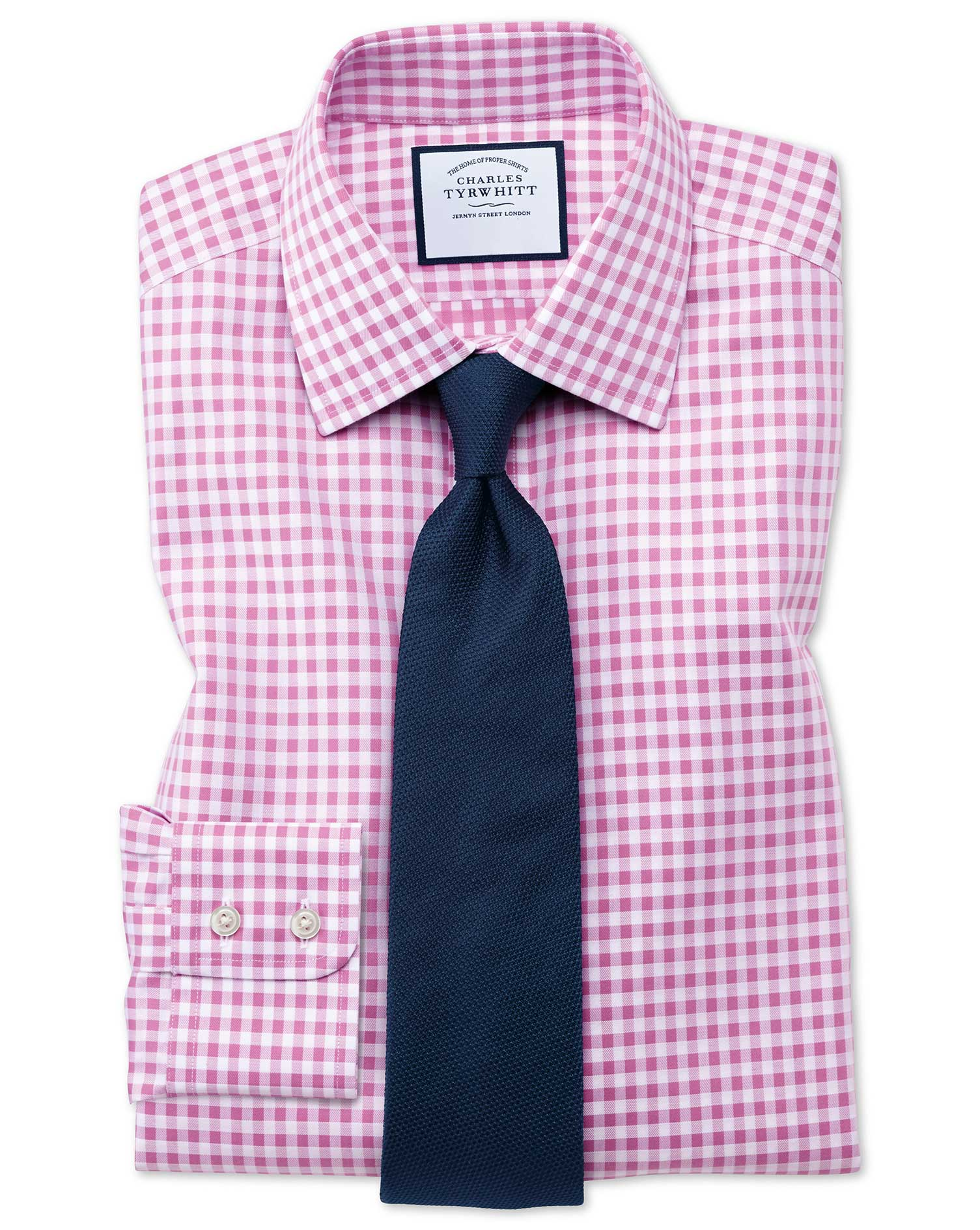 Slim Fit Non-Iron Gingham Pink Cotton Formal Shirt Single Cuff Size 16/35 by Charles Tyrwhitt