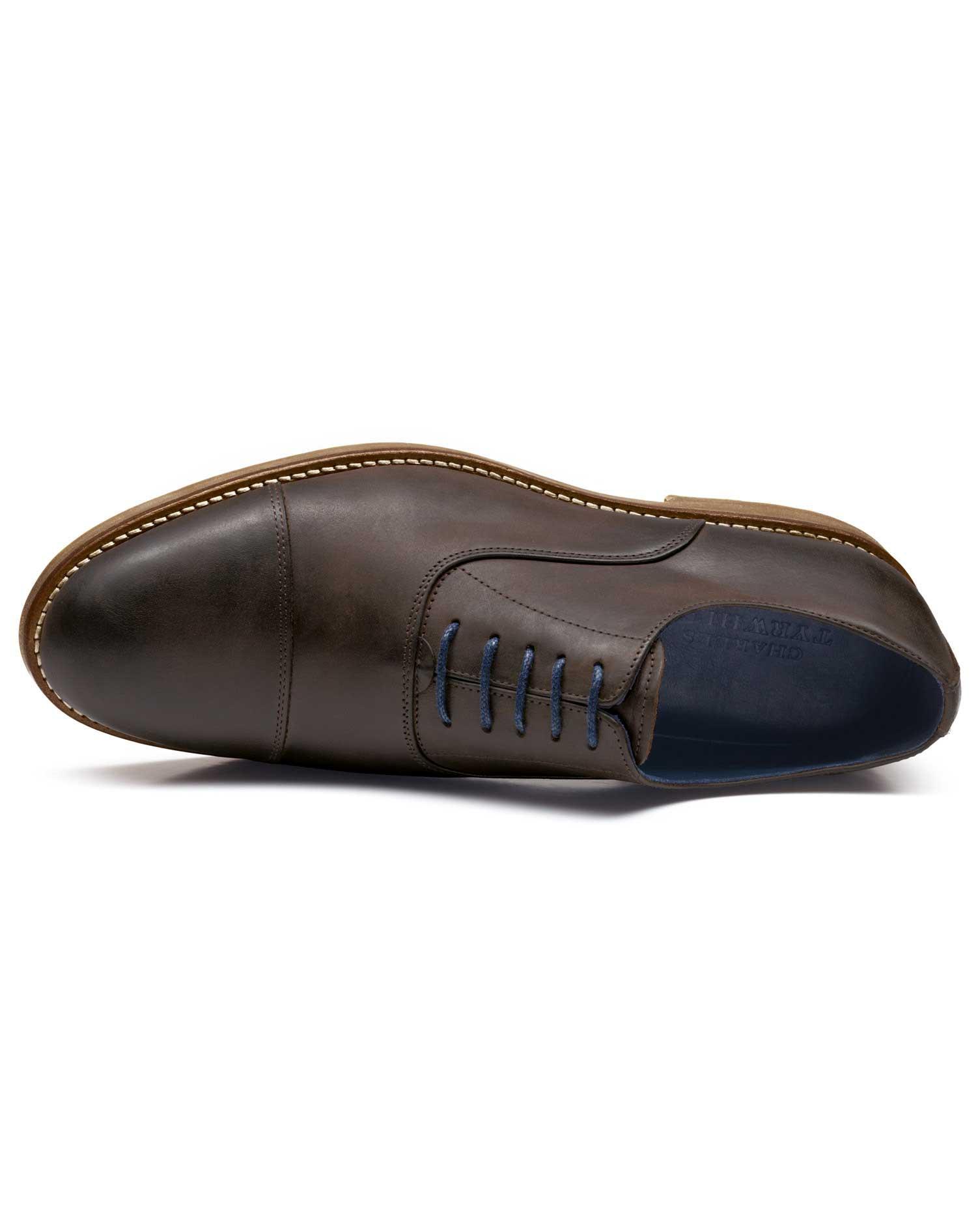 Brown Highbury Toe Cap Oxford Shoes Size 7 R by Charles Tyrwhitt