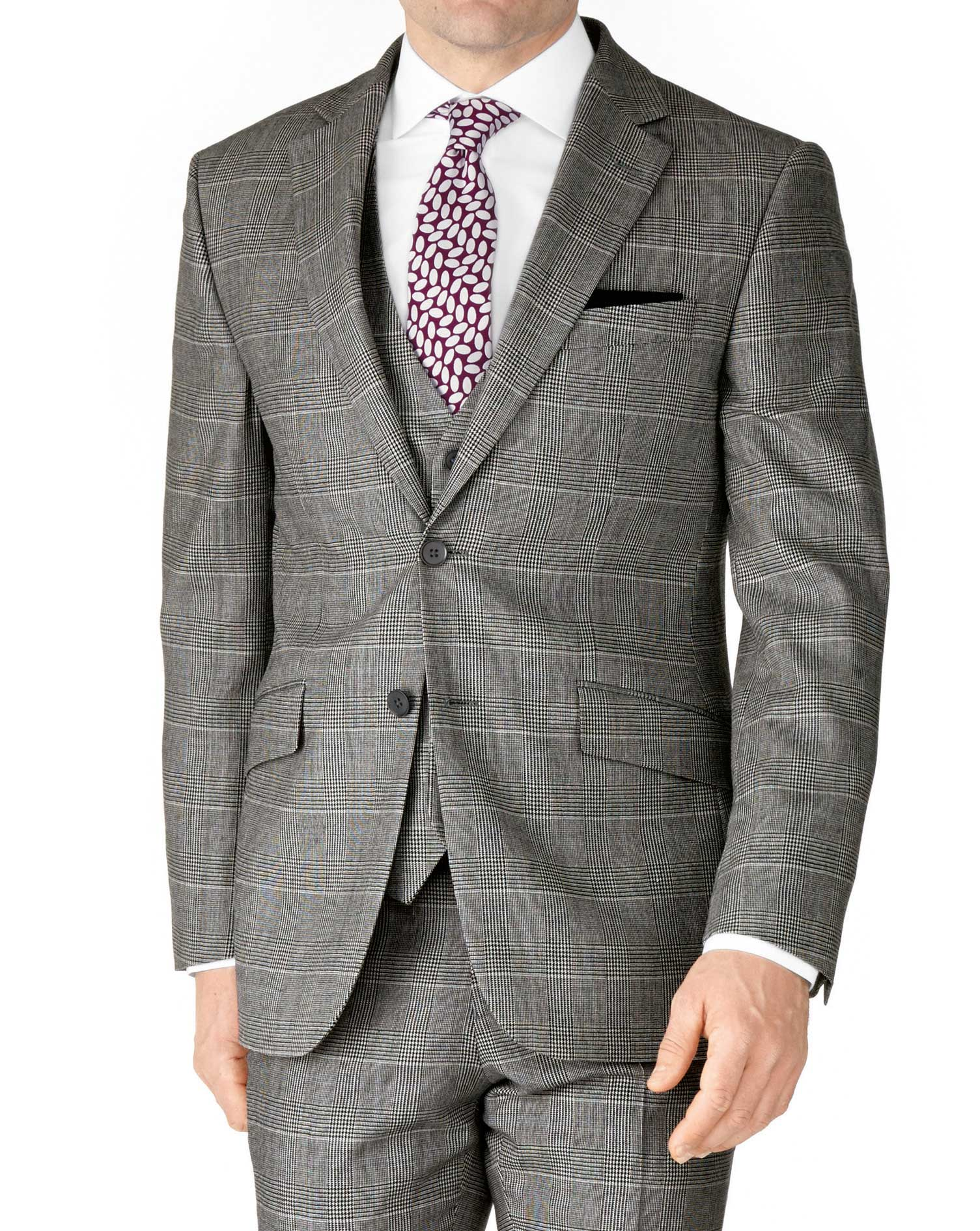 Grey Check Slim Fit Twill Business Suit Wool Jacket Size 46 Regular by Charles Tyrwhitt