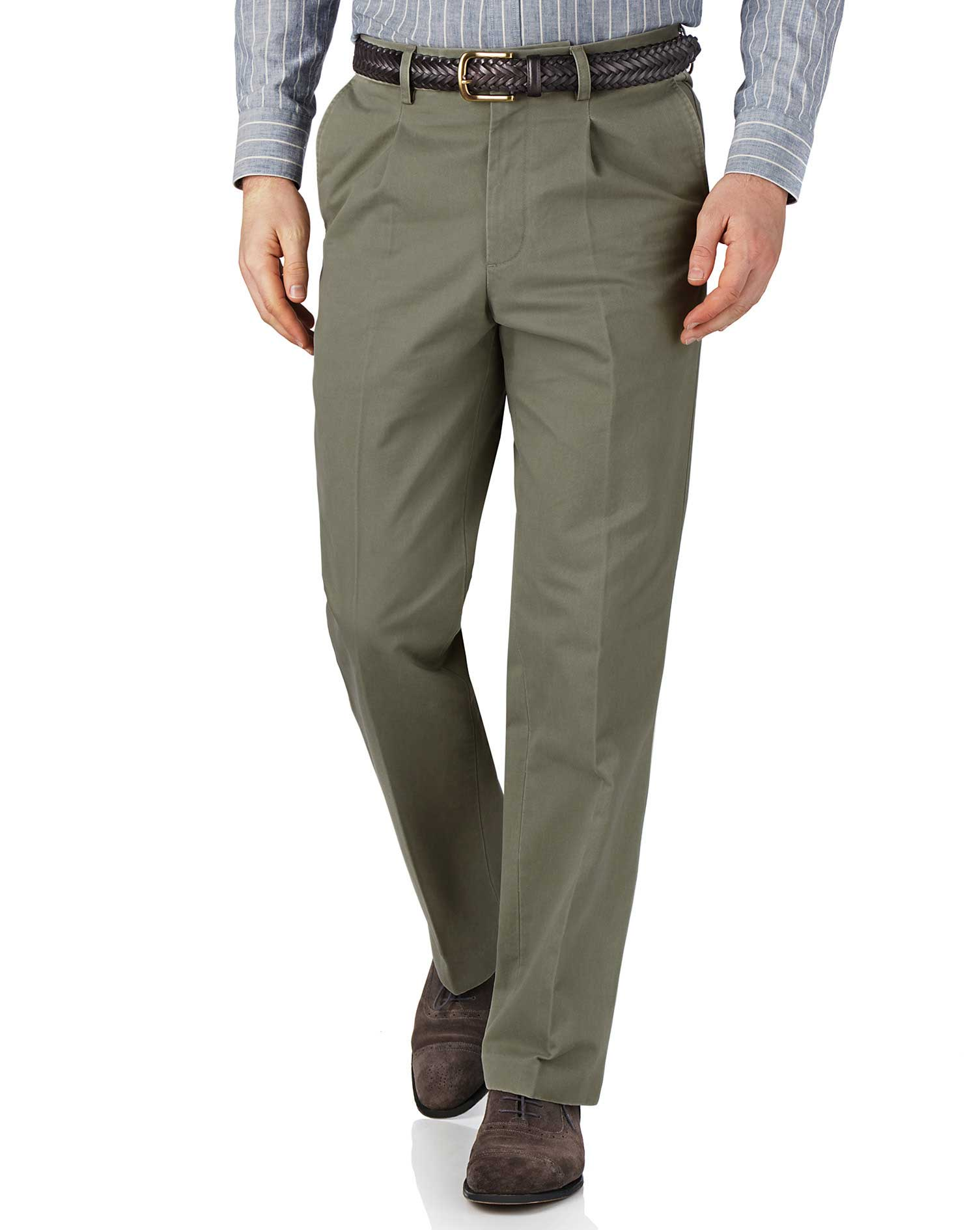 Light Green Classic Fit Single Pleat Cotton Chino Trousers Size W34 L30 by Charles Tyrwhitt