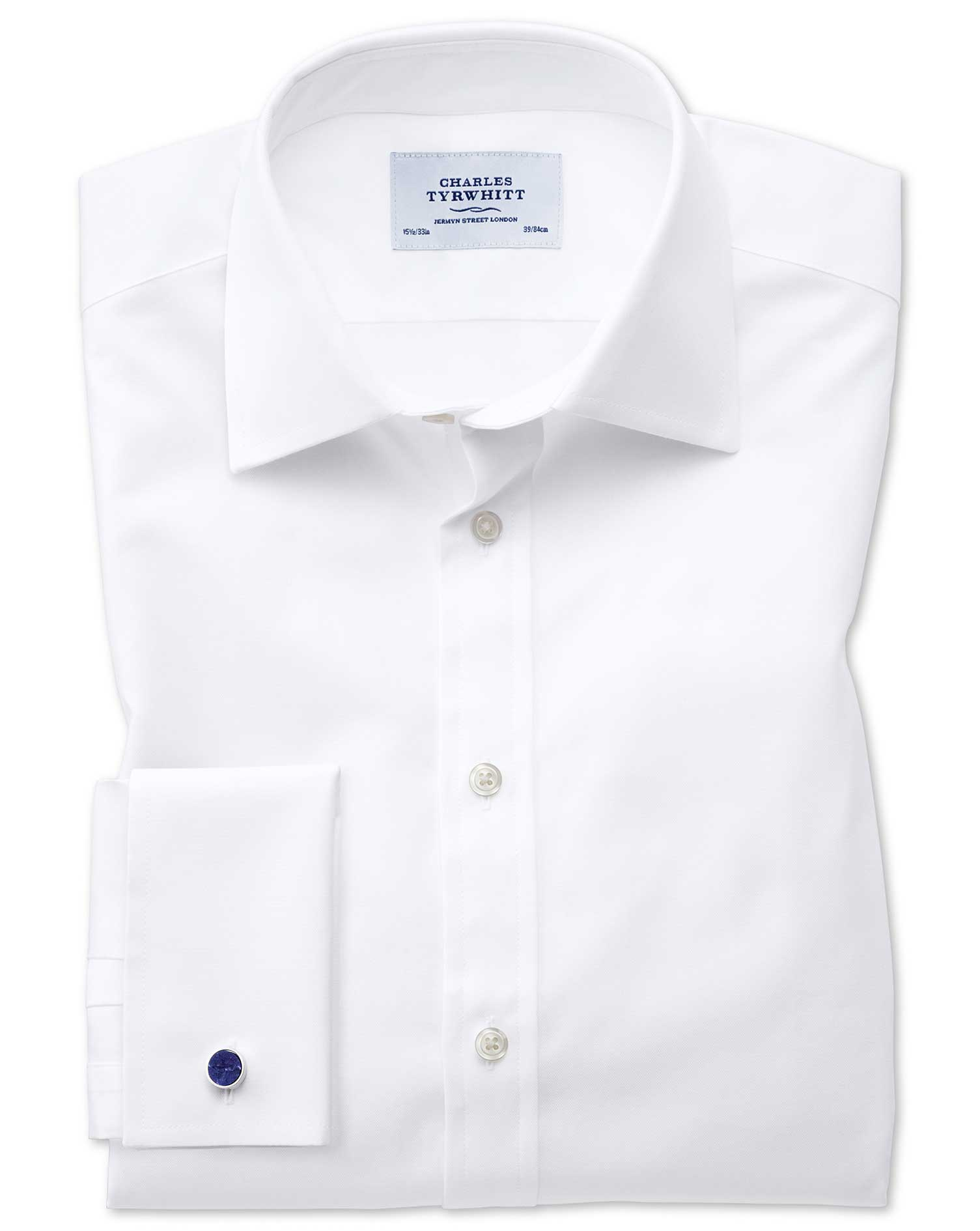 Slim Fit Oxford White Cotton Formal Shirt Double Cuff Size 16/38 by Charles Tyrwhitt