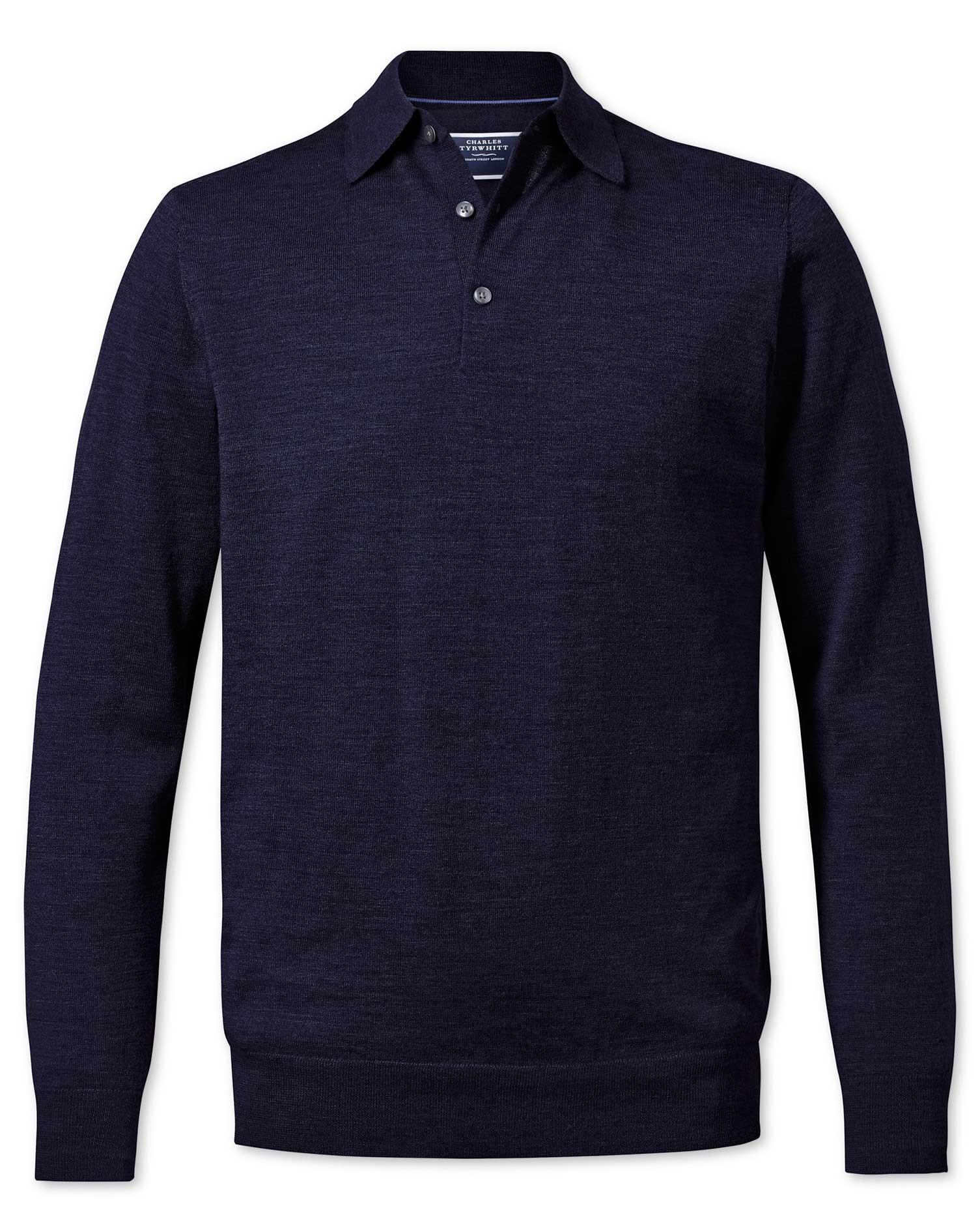 Navy Merino Wool Zip Through Cardigan Size Large by Charles Tyrwhitt