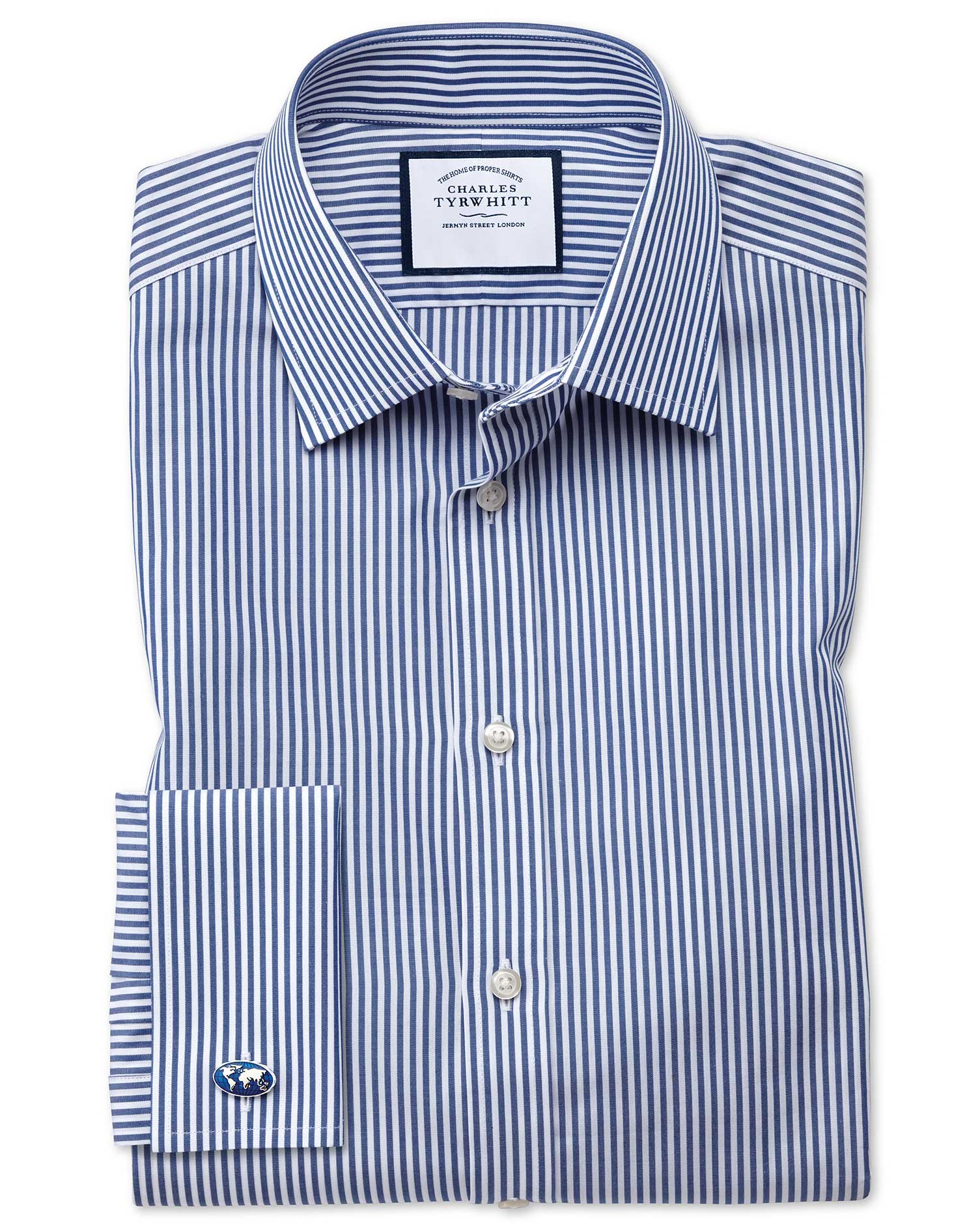 Extra Slim Fit Bengal Stripe Navy Blue Cotton Formal Shirt Double Cuff Size 15.5/35 by Charles Tyrwh