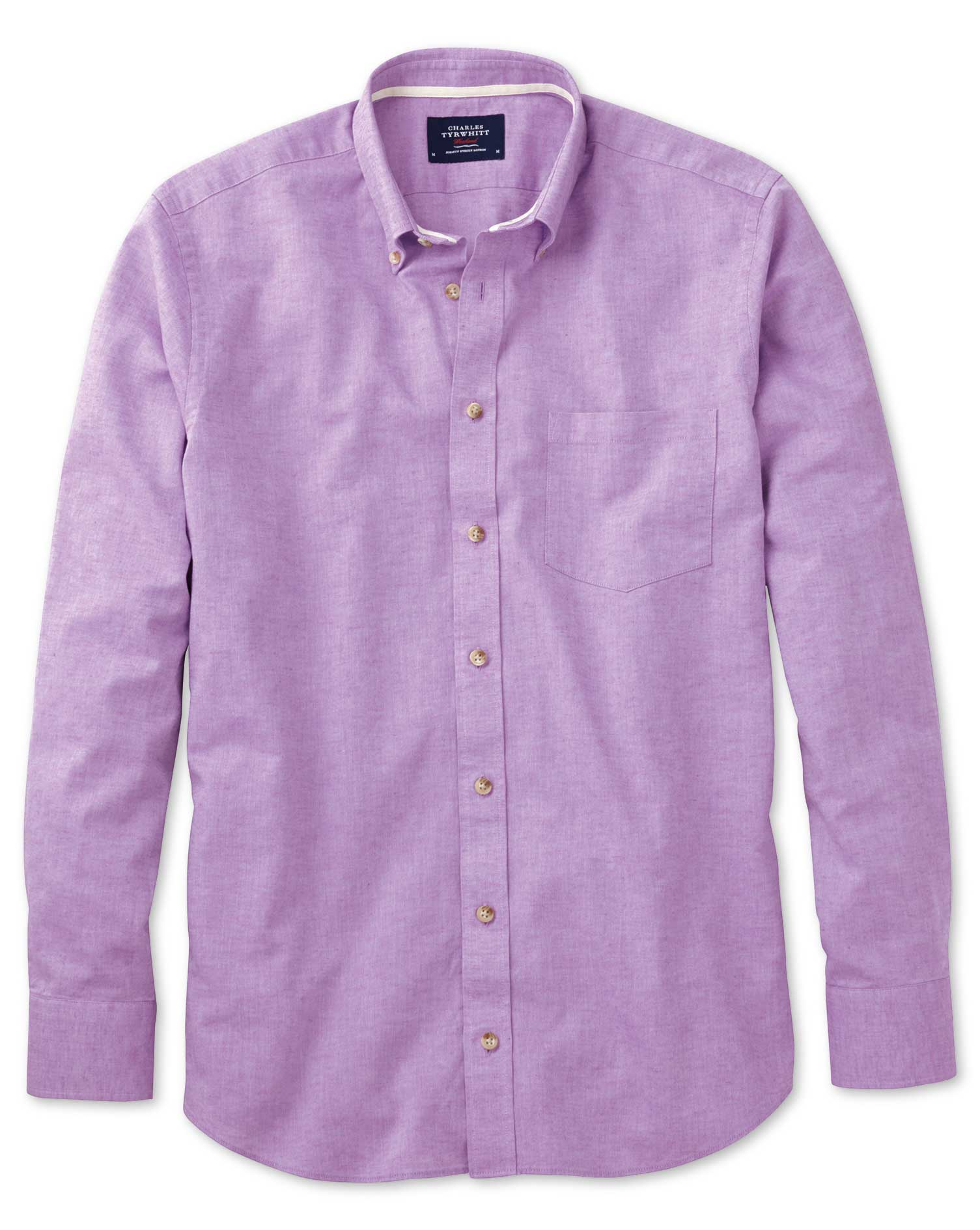 Slim Fit Lilac Cotton Shirt Single Cuff Size Small by Charles Tyrwhitt