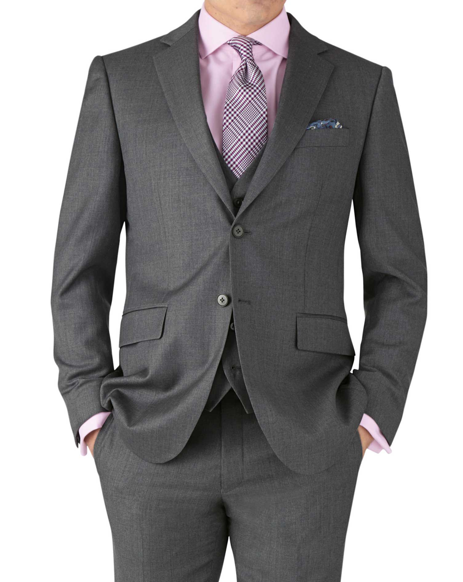 Mid Grey Slim Fit Twill Business Suit Wool Jacket Size 40 Long by Charles Tyrwhitt