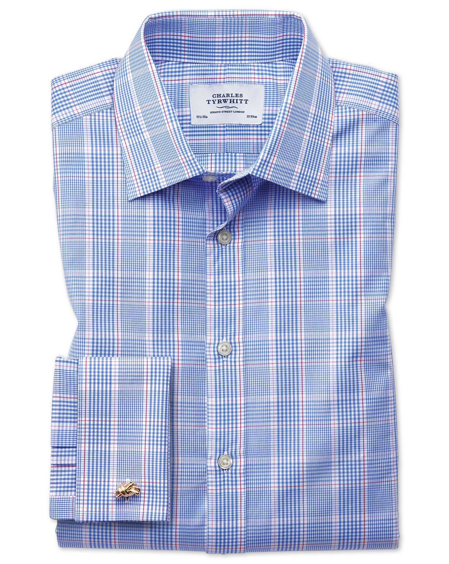 Classic Fit Prince Of Wales Blue Cotton Formal Shirt Single Cuff Size 15/35 by Charles Tyrwhitt