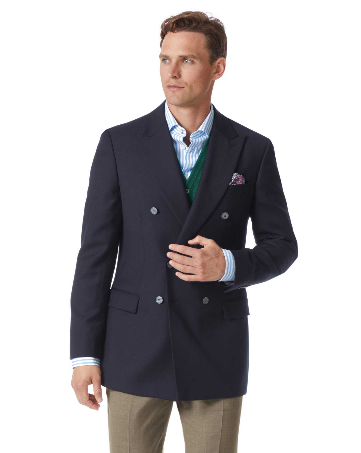 Slim Fit Navy Double Breasted Wool Wool Blazer Size 46 Long by Charles Tyrwhitt