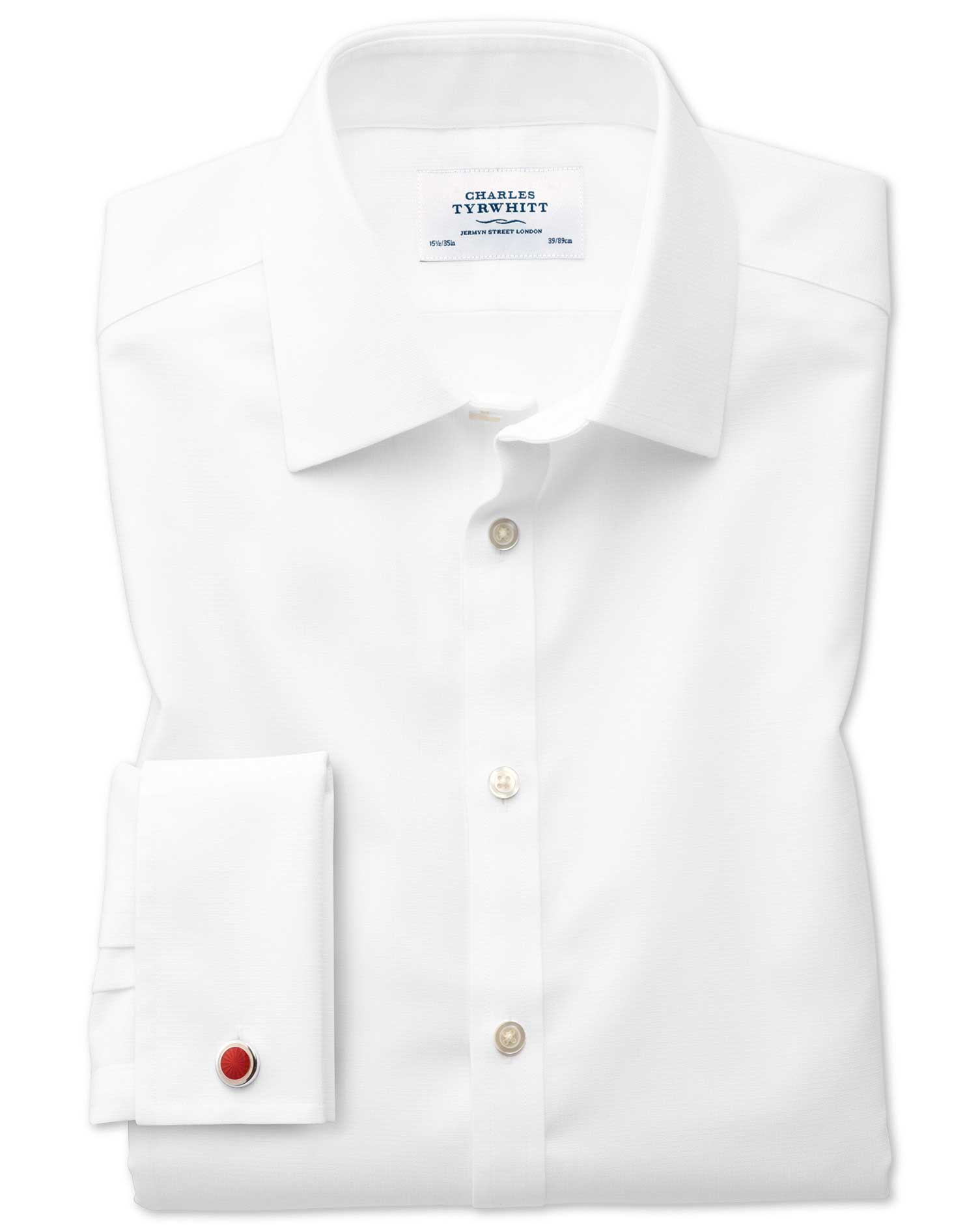 Extra Slim Fit Non-Iron Square Weave White Cotton Formal Shirt Double Cuff Size 15.5/33 by Charles T