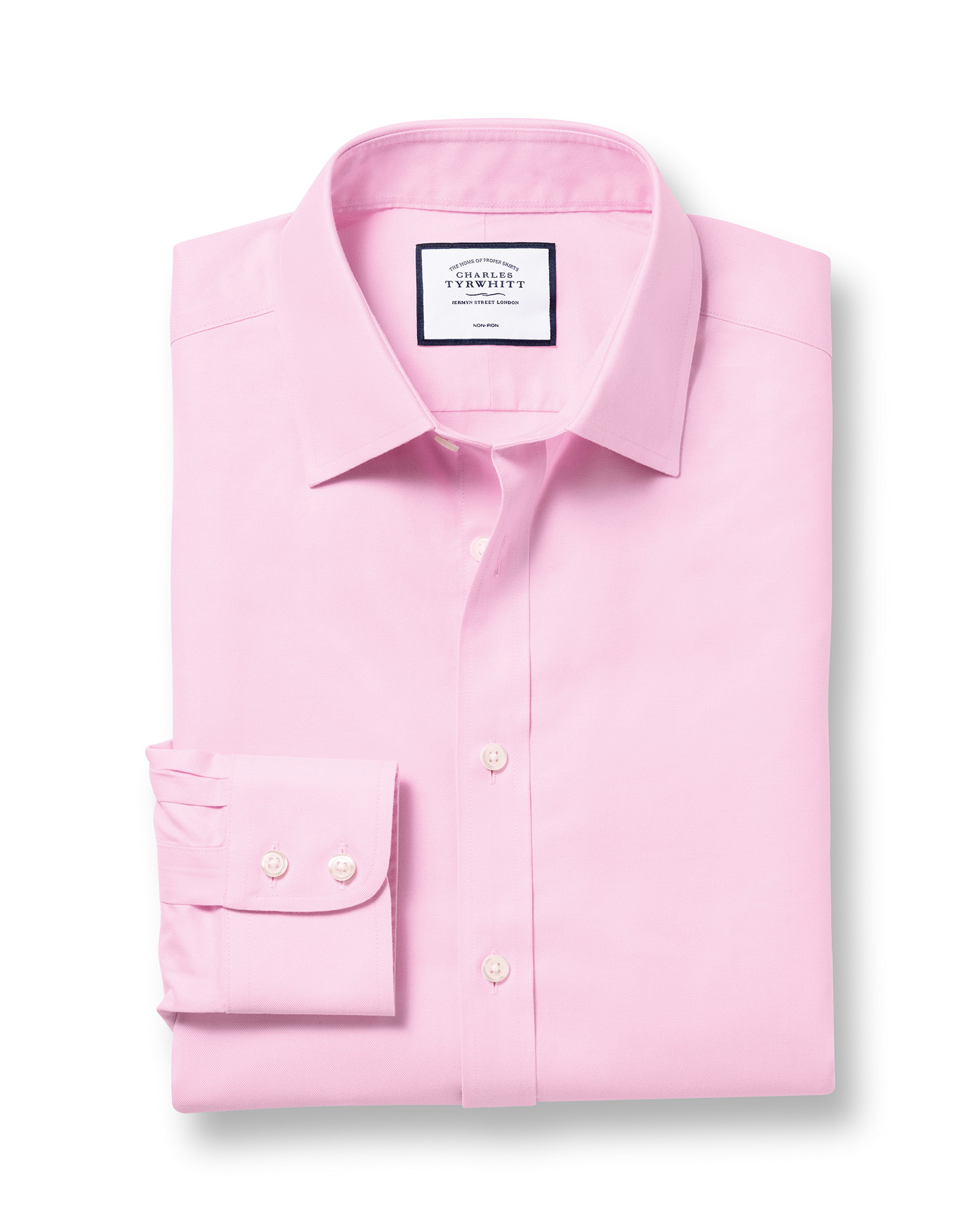 Slim Fit Non-Iron Twill Pink Cotton Formal Shirt Single Cuff Size 17.5/35 by Charles Tyrwhitt