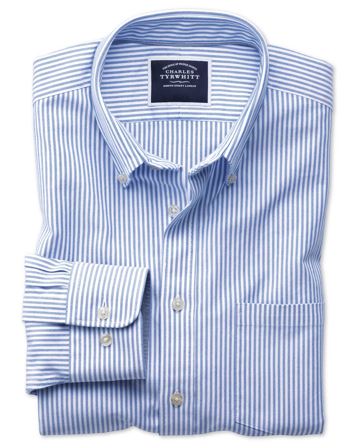 Classic Fit Button Down Washed Oxford White And Blue