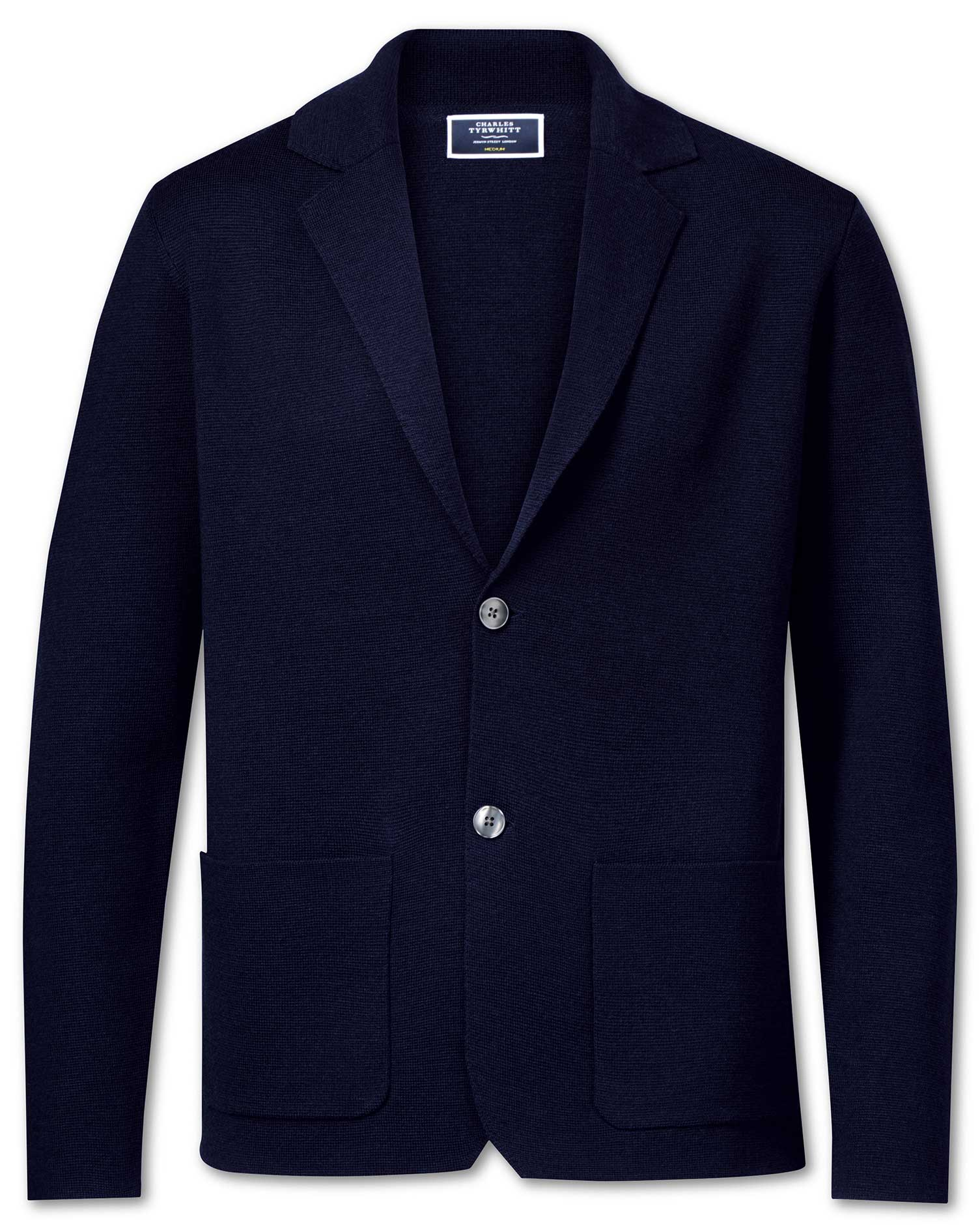 Navy Merino Wool Blazer Size Medium by Charles Tyrwhitt