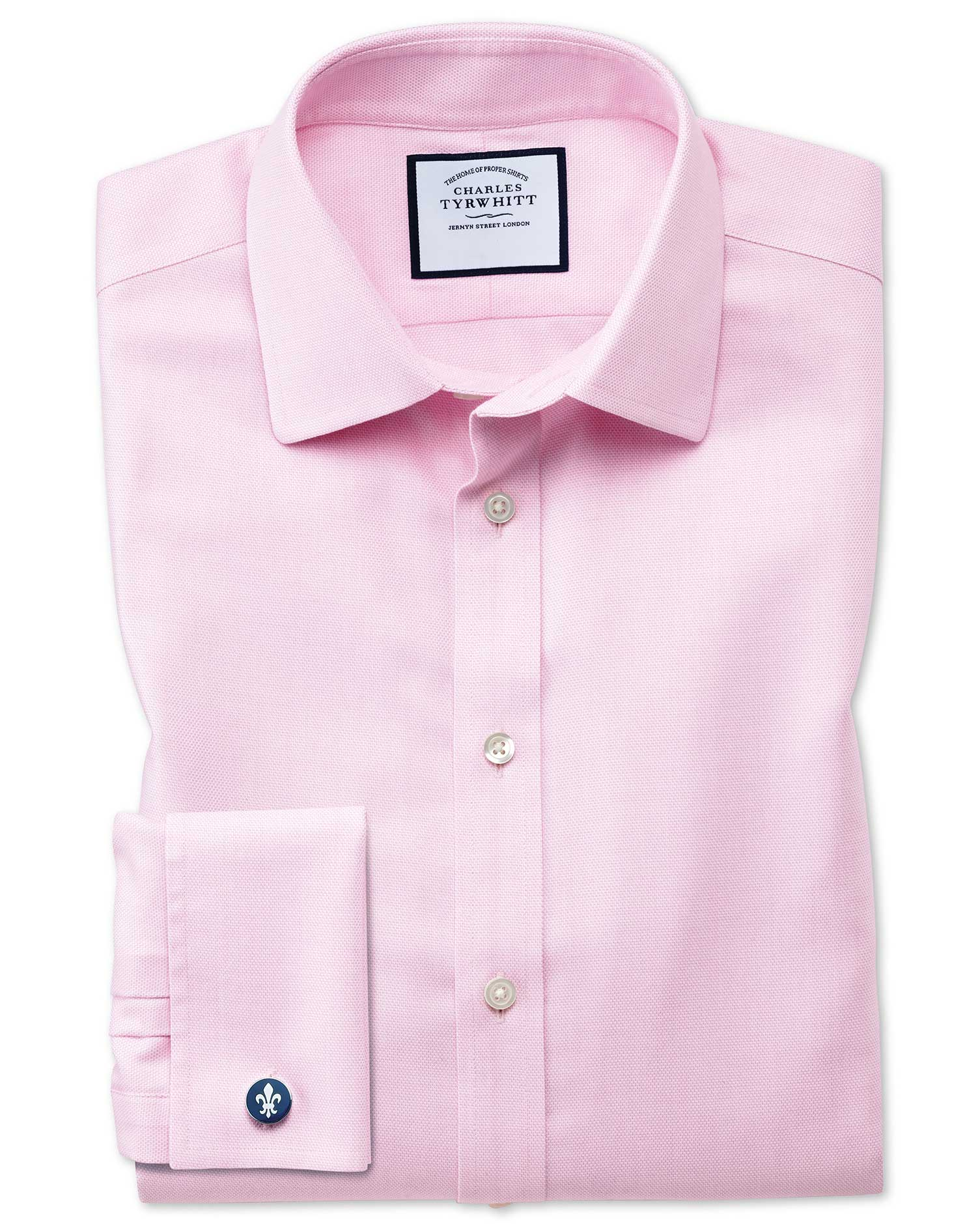 Slim Fit Non-Iron Step Weave Pink Cotton Formal Shirt Double Cuff Size 15.5/32 by Charles Tyrwhitt