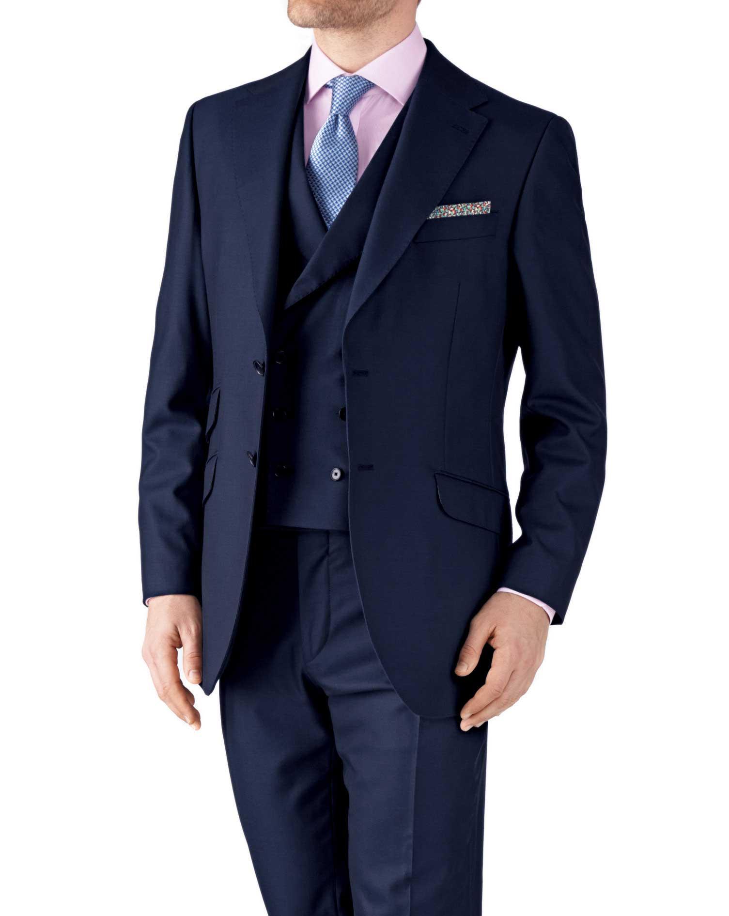 Navy Classic Fit British Panama Luxury Suit Wool Jacket Size 40 Short by Charles Tyrwhitt