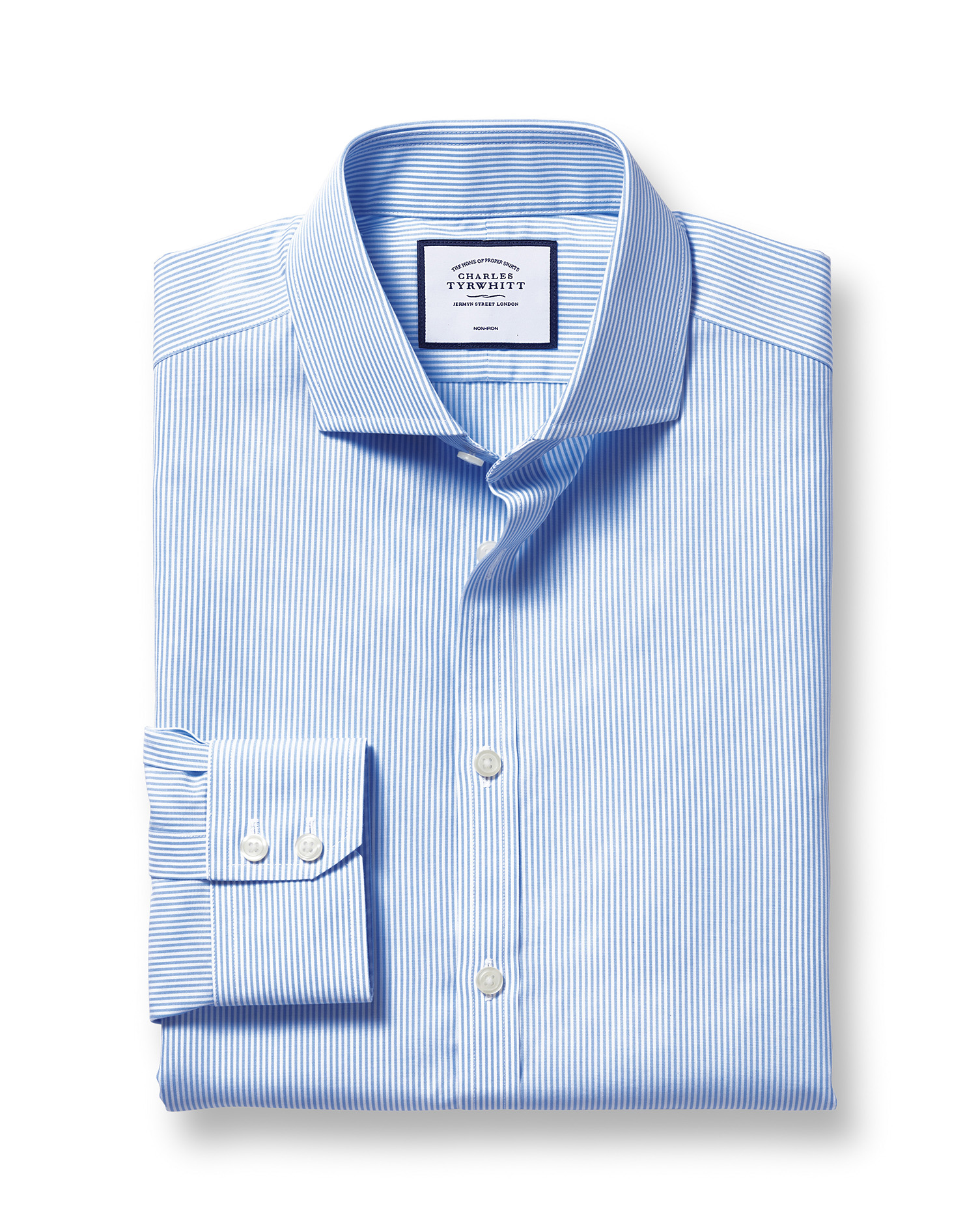 Slim Fit Cutaway Non-Iron Bengal Stripe Sky Blue Cotton Formal Shirt Double Cuff Size 16.5/34 by Cha
