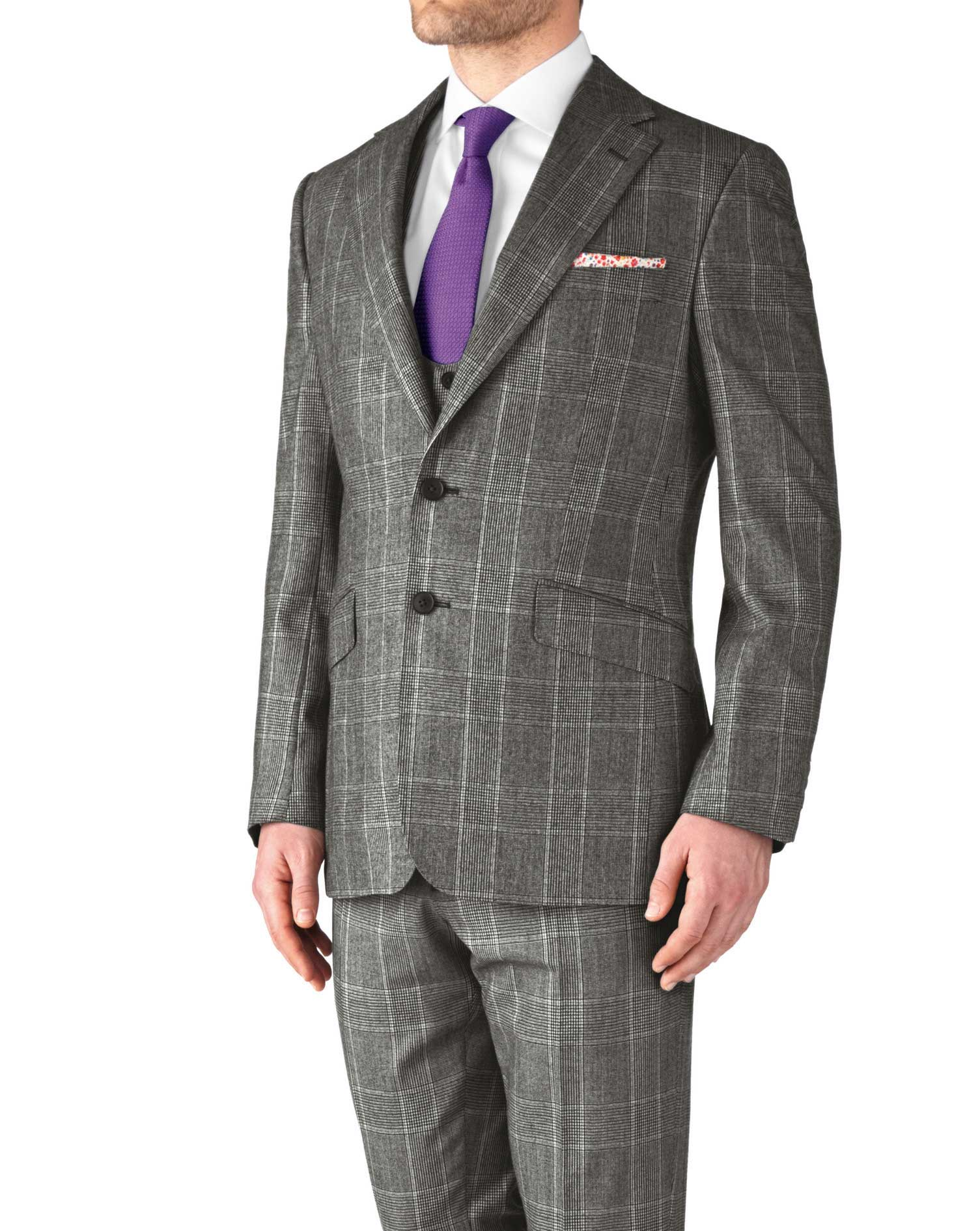 Grey Slim Fit Check Business Suit Wool Jacket Size 38 Long by Charles Tyrwhitt