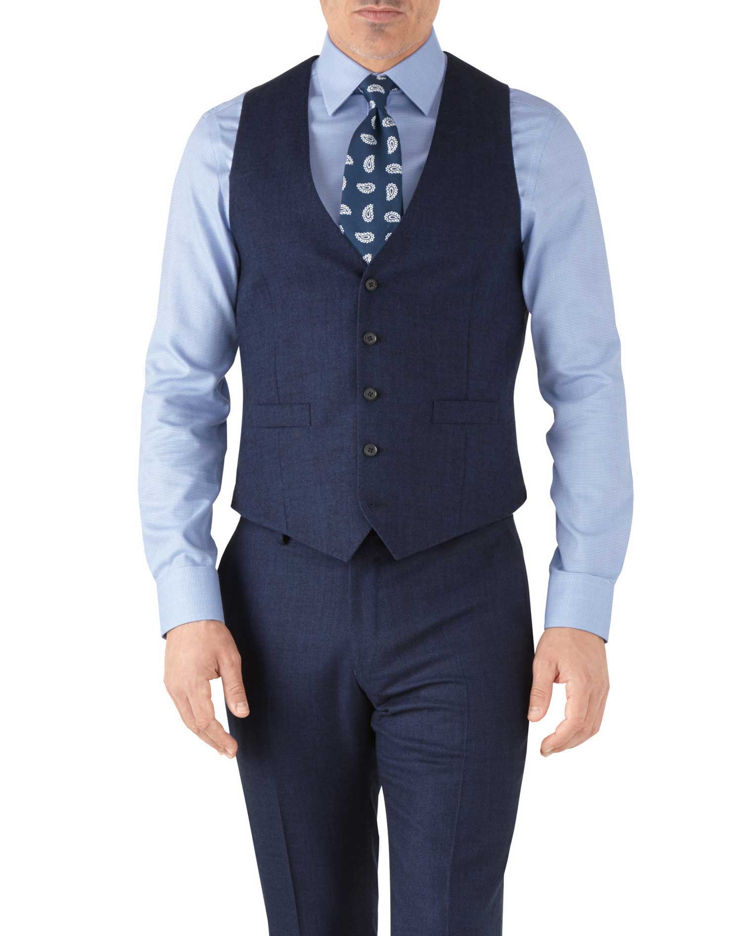 Royal blue adjustable fit flannel business suit vest