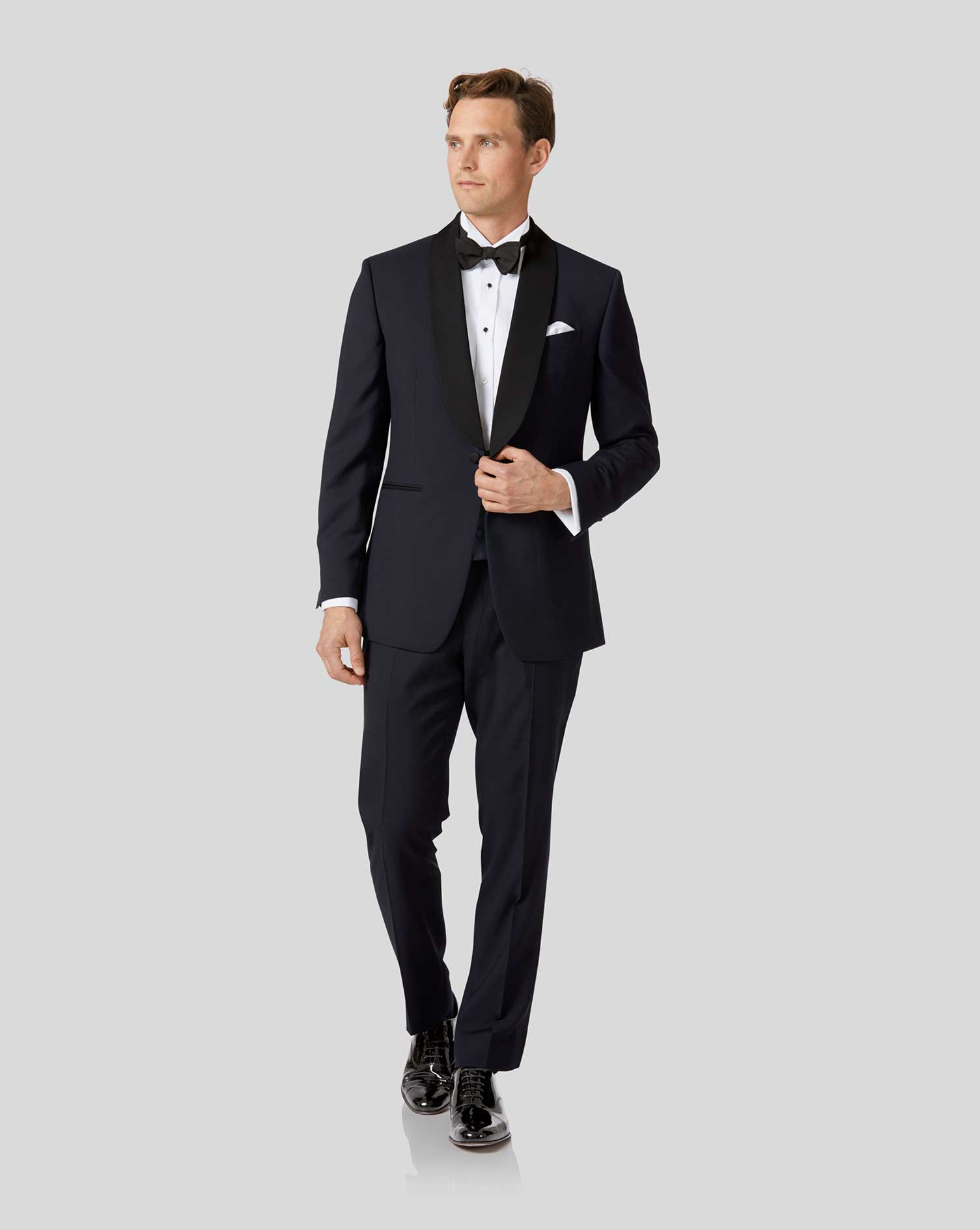 Midnight blue slim fit shawl collar tuxedo suit | Charles