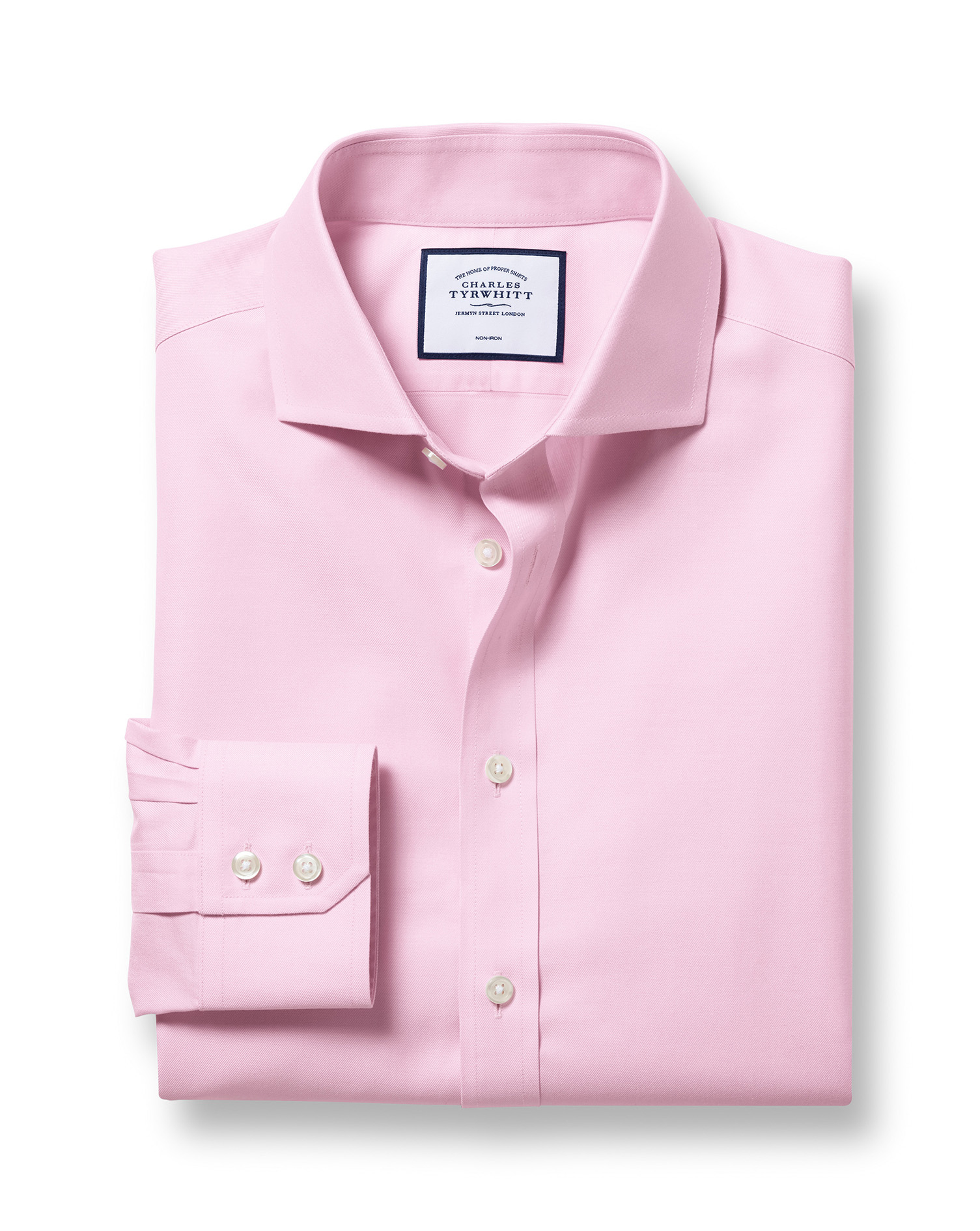Extra Slim Fit Cutaway Non-Iron Twill Pink Cotton Formal Shirt Single Cuff Size 16/36 by Charles Tyr