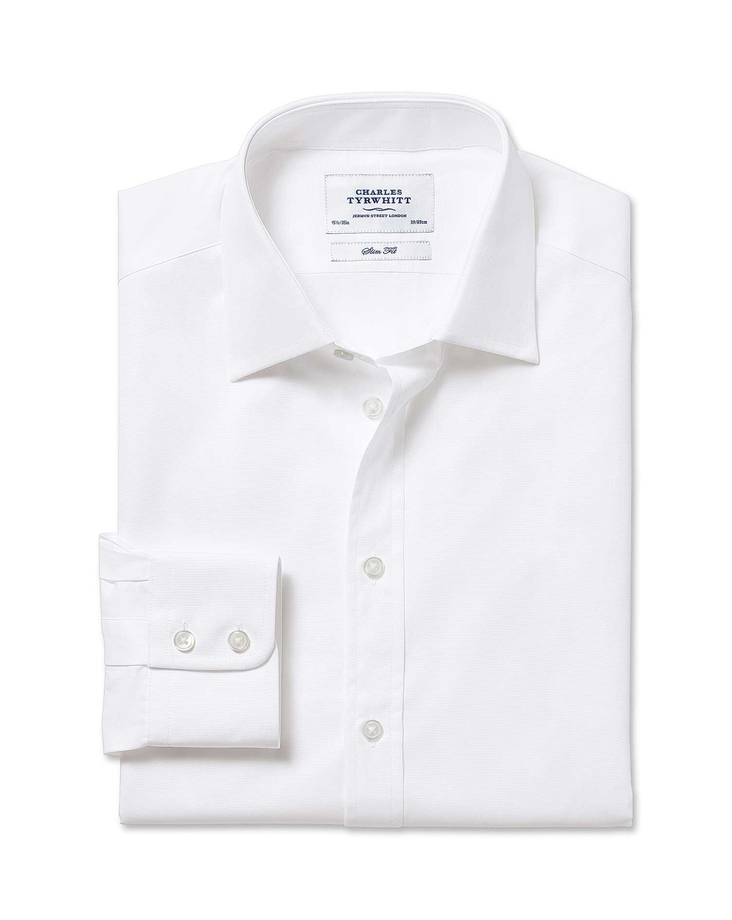 Slim Fit Egyptian Cotton Poplin White Formal Shirt Single Cuff Size 15/34 by Charles Tyrwhitt